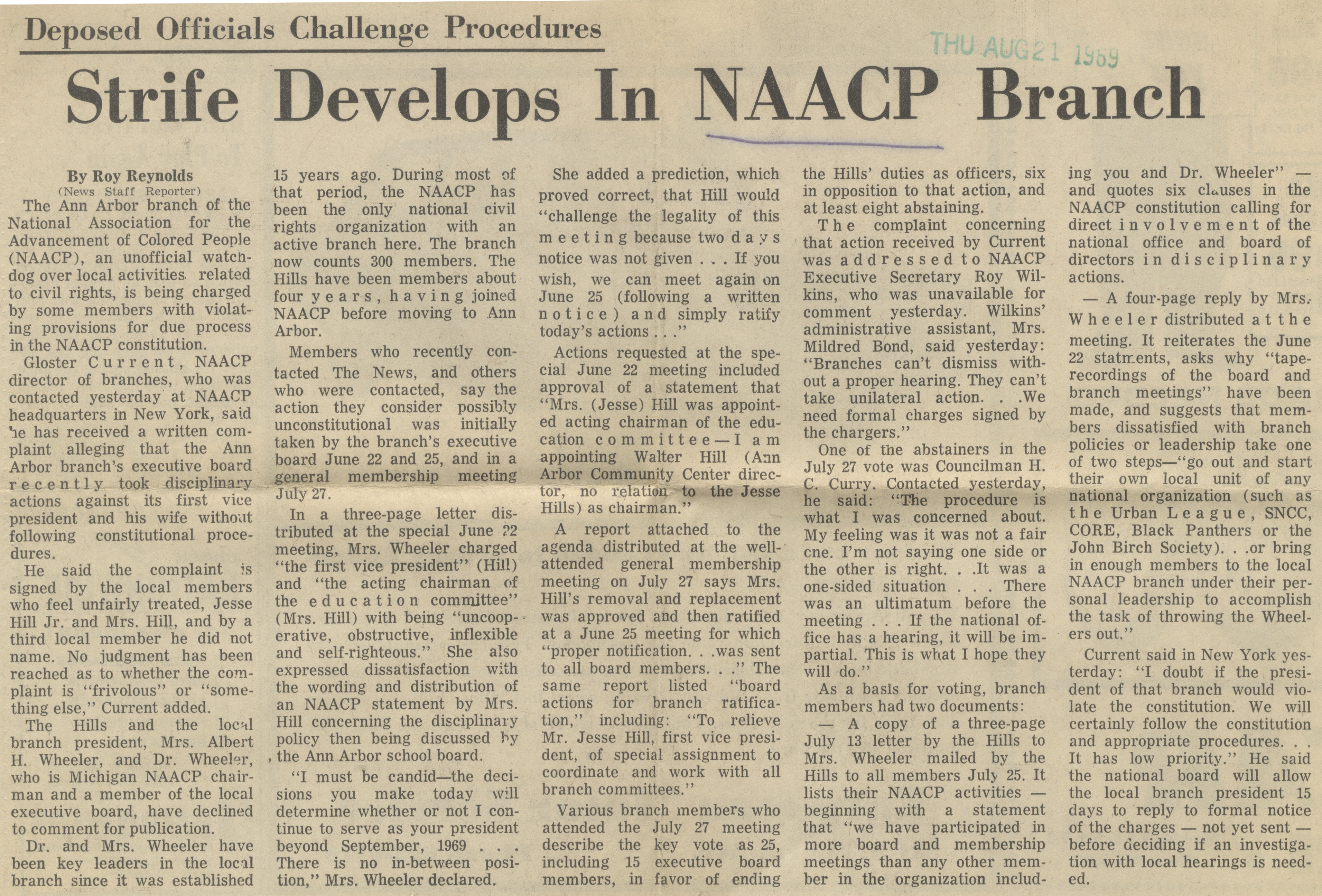 Strife Develops In NAACP Branch image