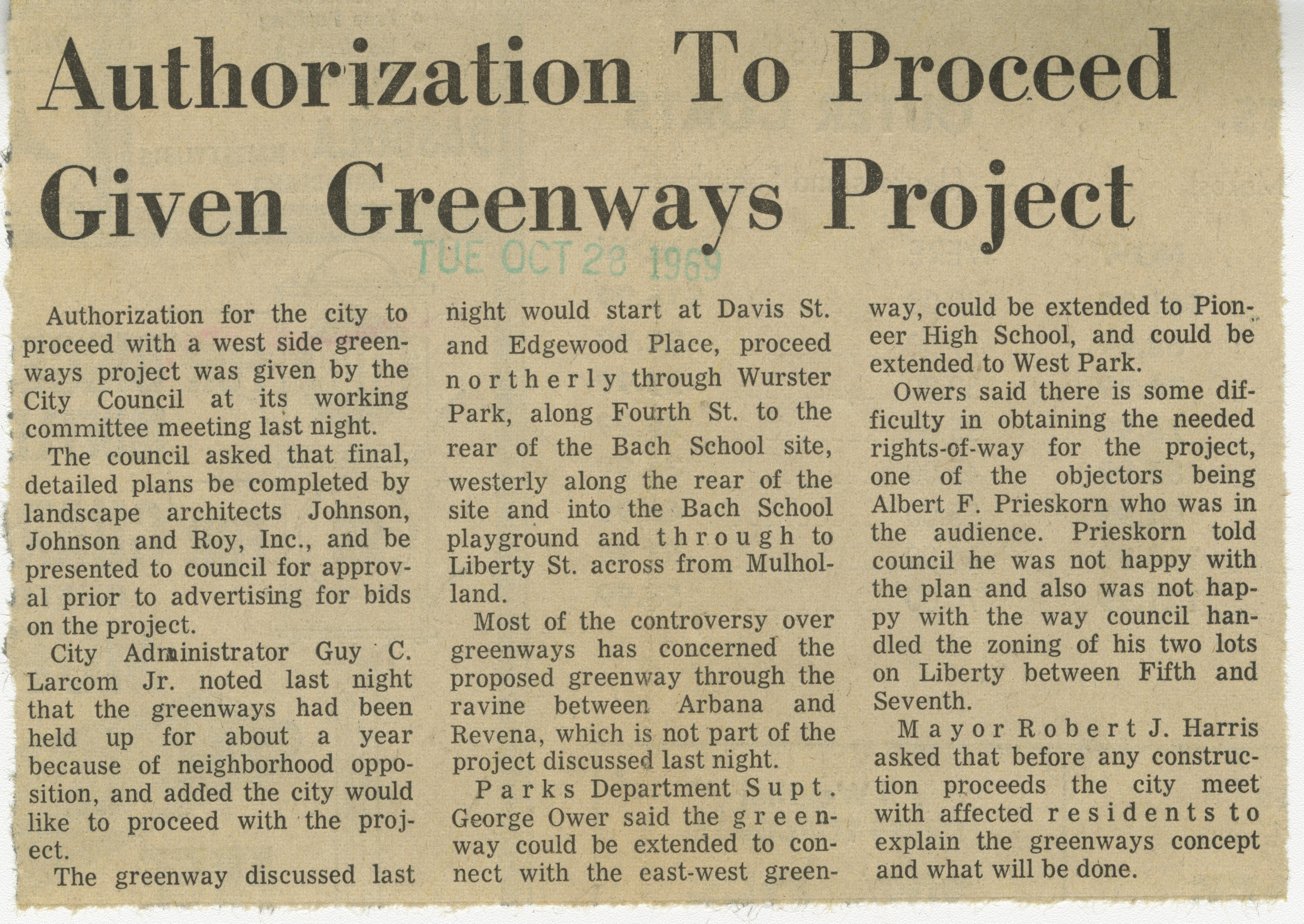 Authorization To Proceed Given Greenways Project image