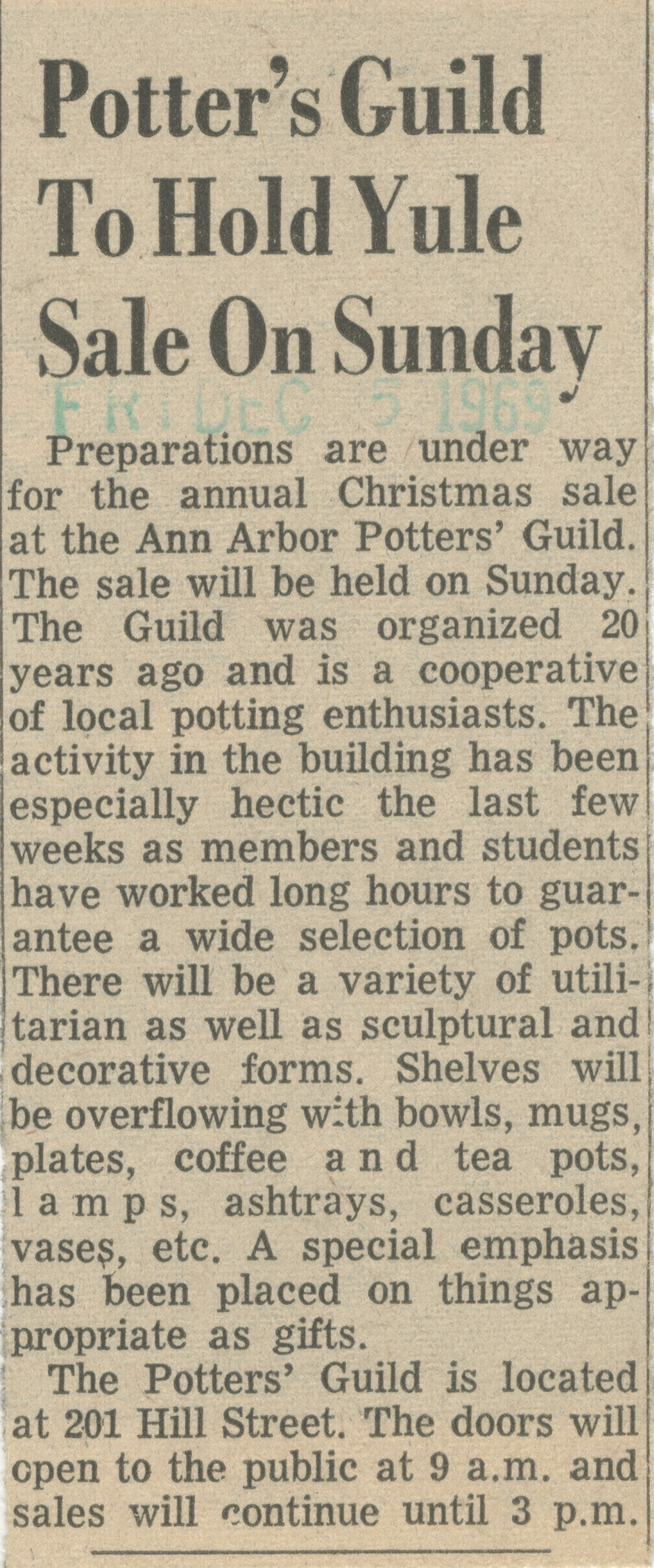 Potter's Guild To Hold Yule Sale On Sunday image