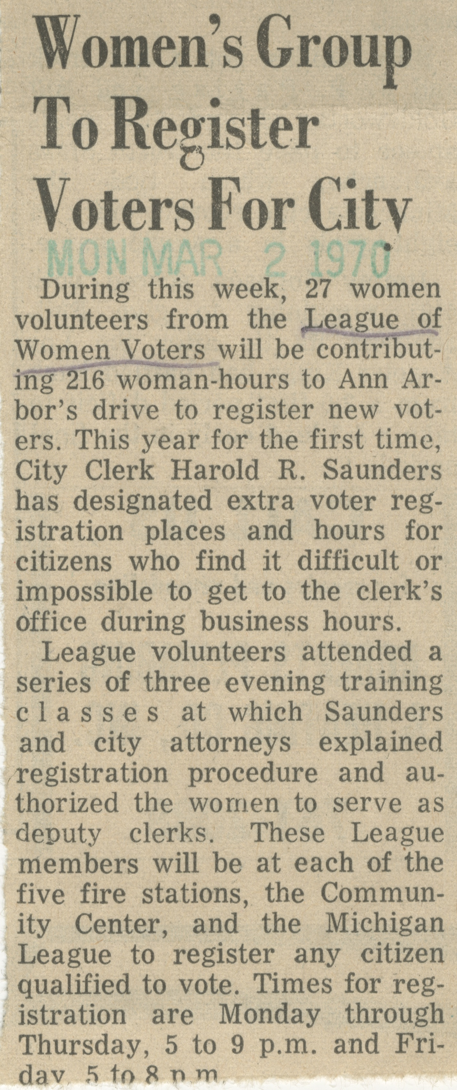 Women's Group To Register Voters For City image