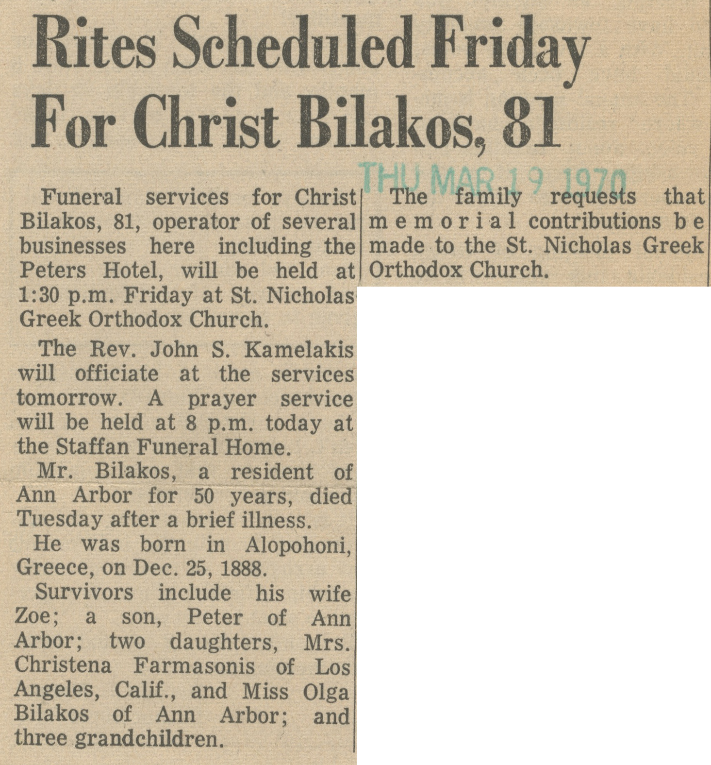 Rites Scheduled Friday For Christ Bilakos, 81 image