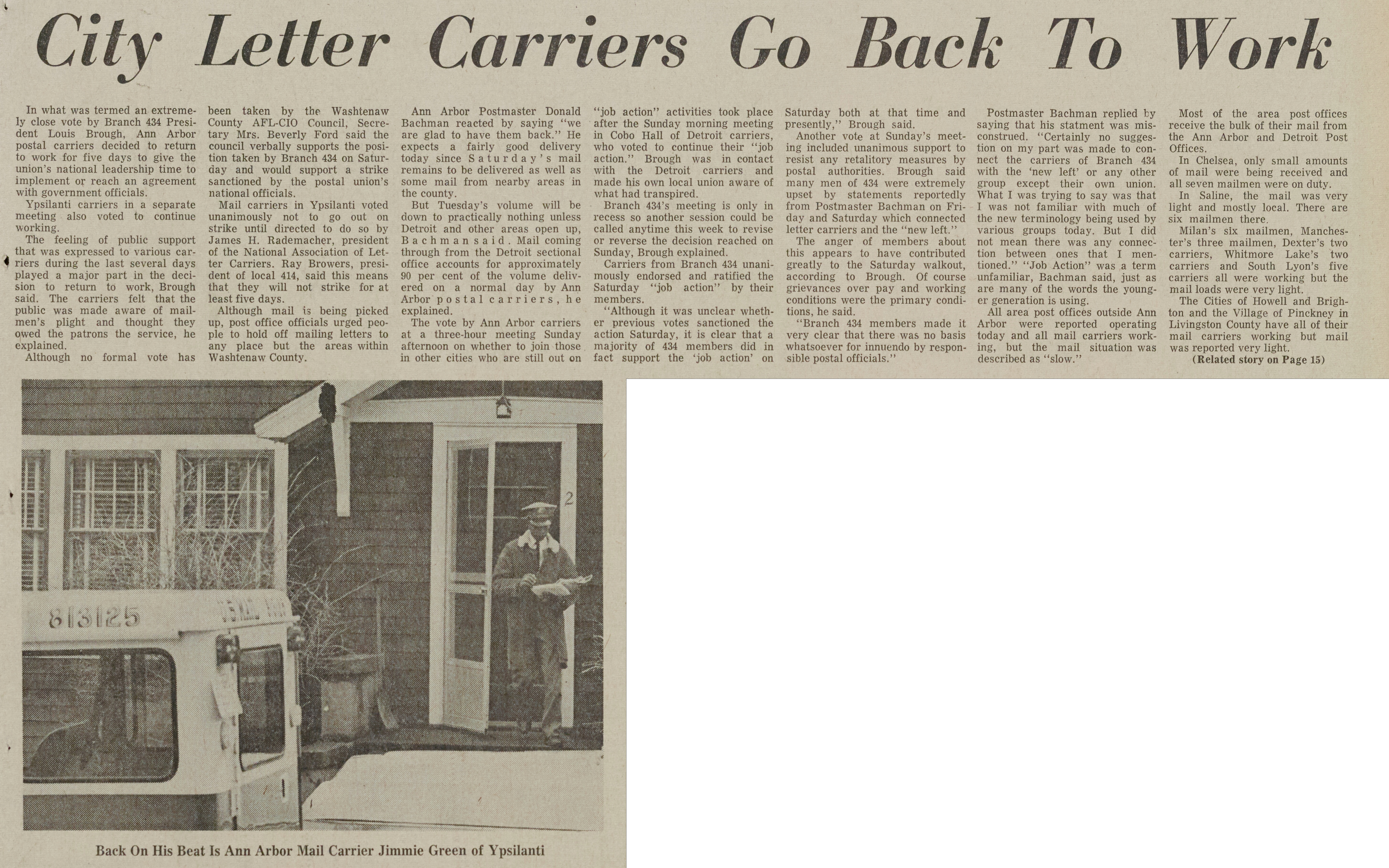 City Letter Carriers Go Back To Work image