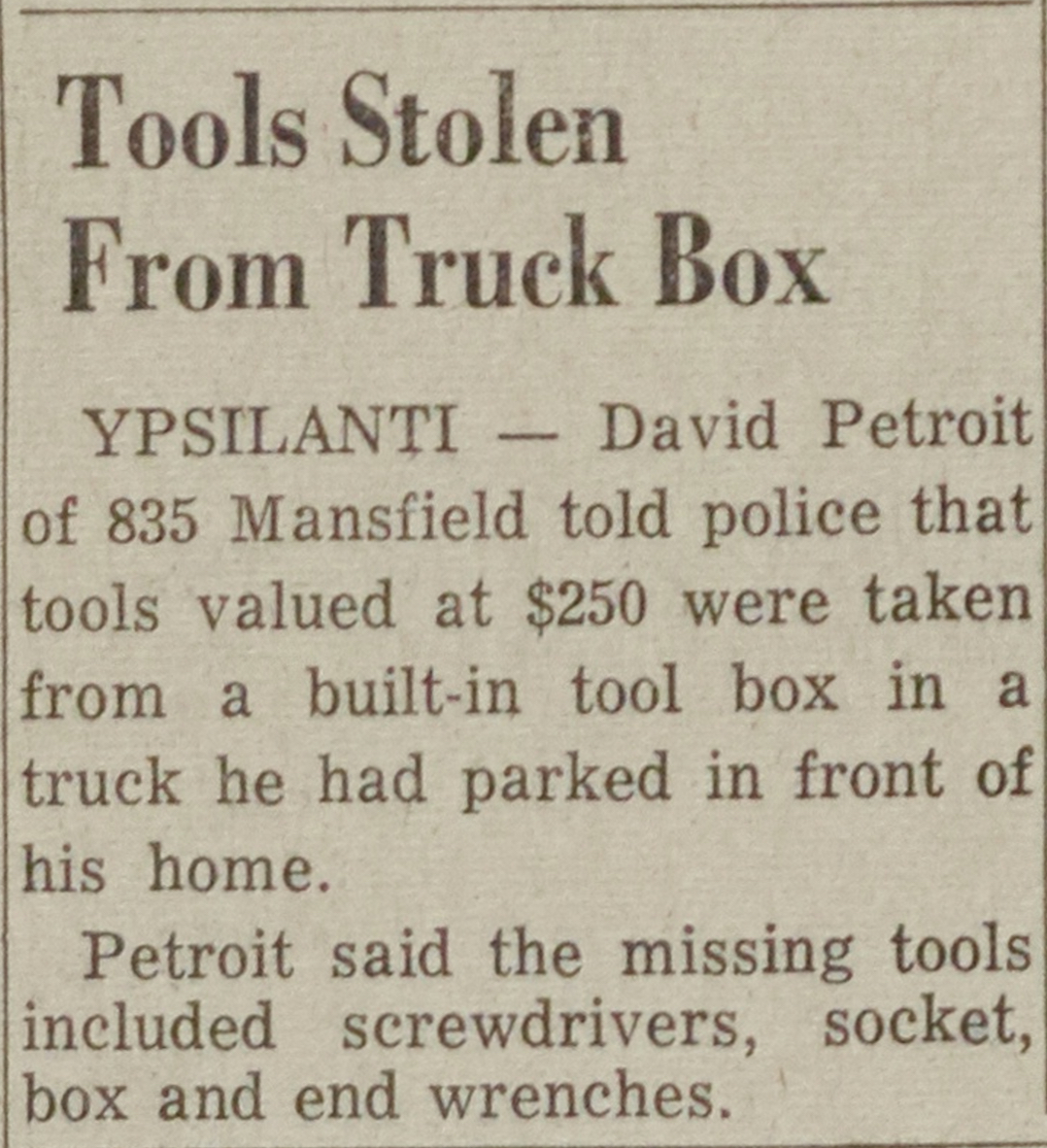 Tools Stolen From Truck Box image
