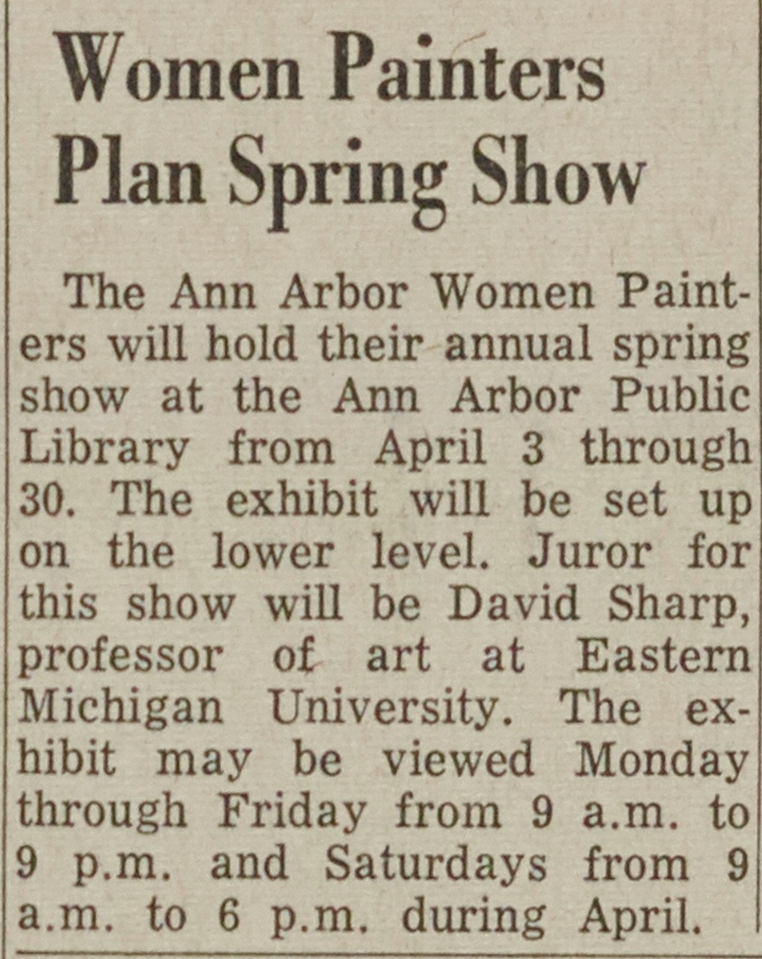 Women Painters Plan Spring Show image
