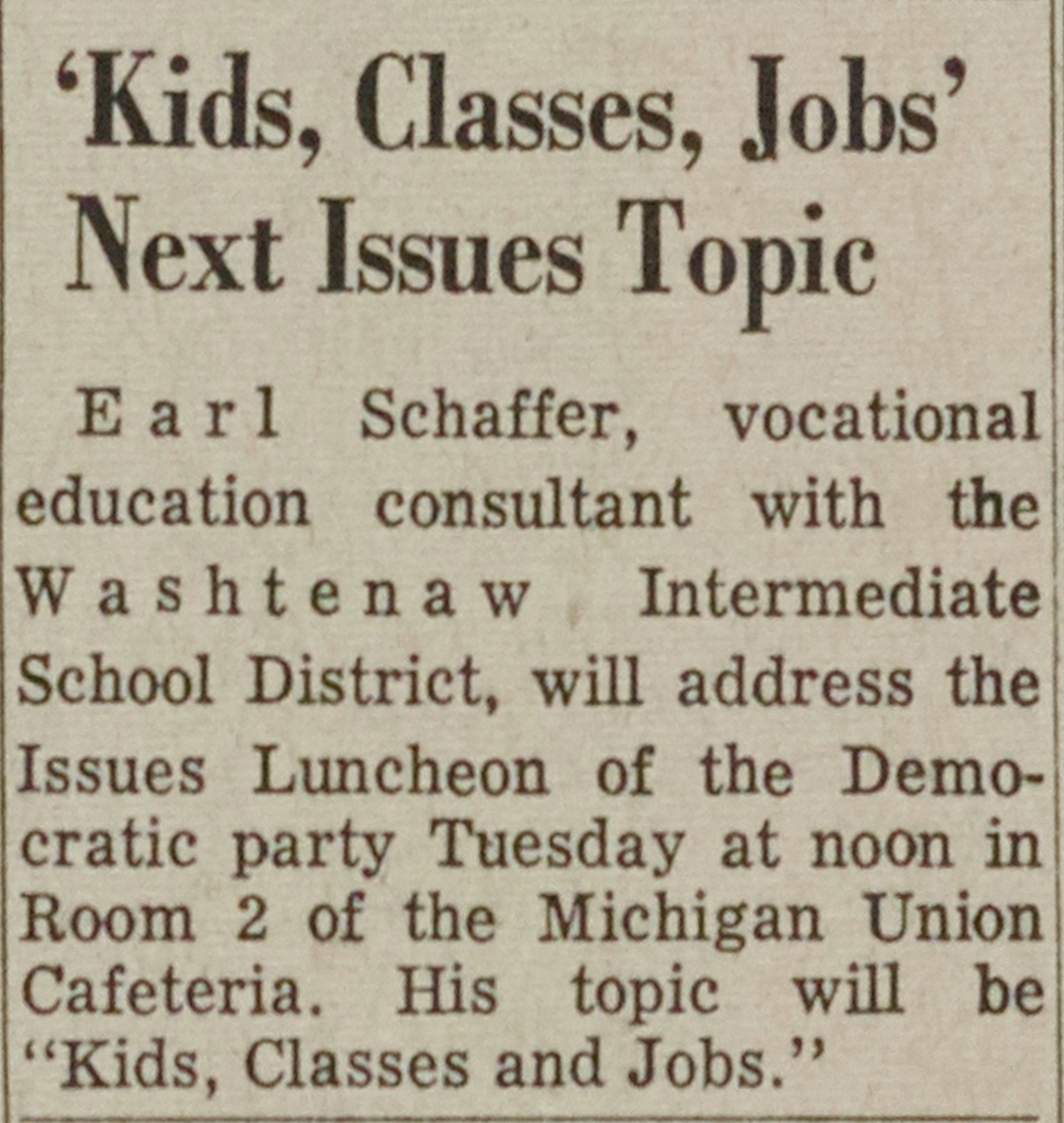 'Kids, Classes, Jobs' Next Issues Topic image