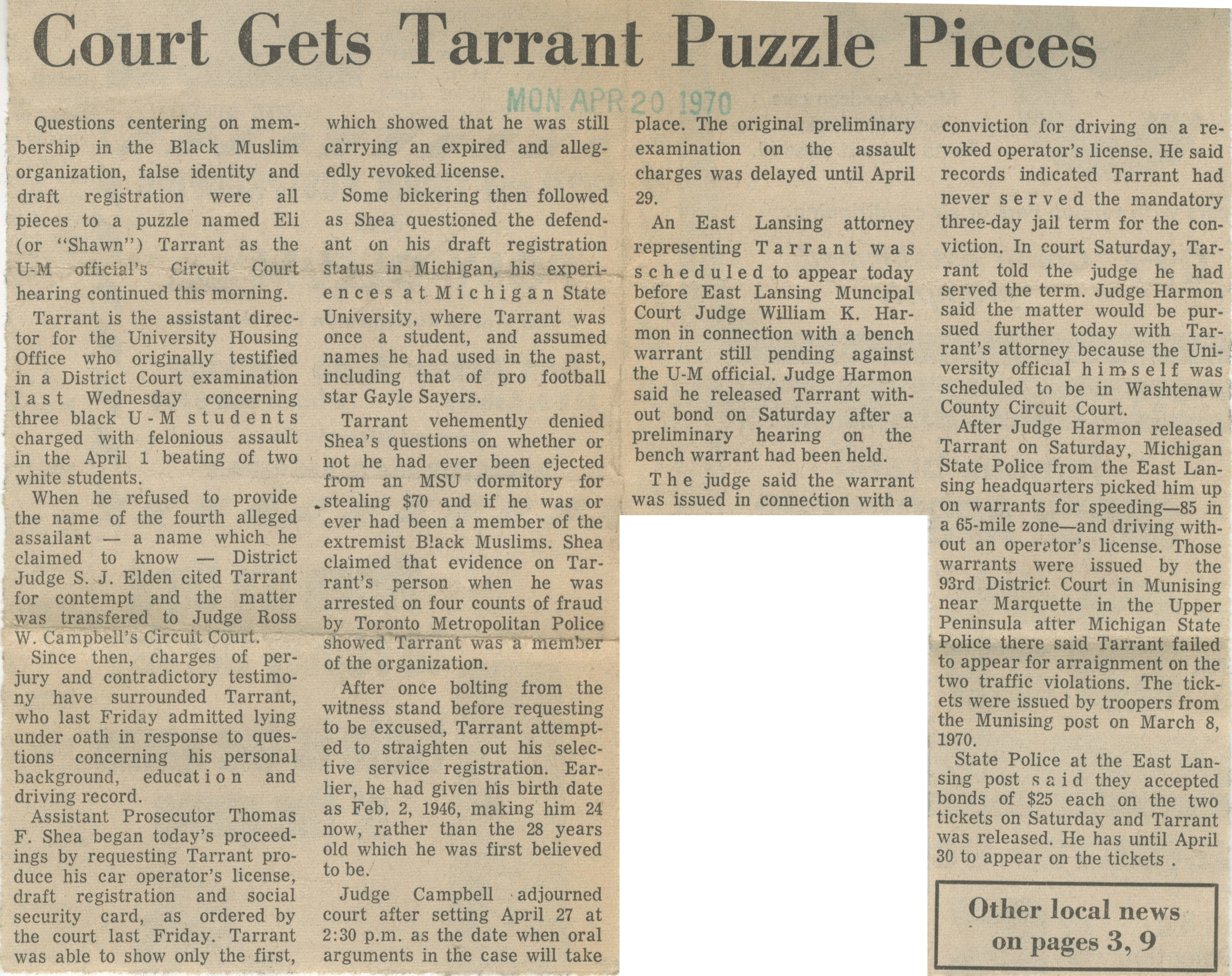 Court Gets Tarrant Puzzle Pieces image