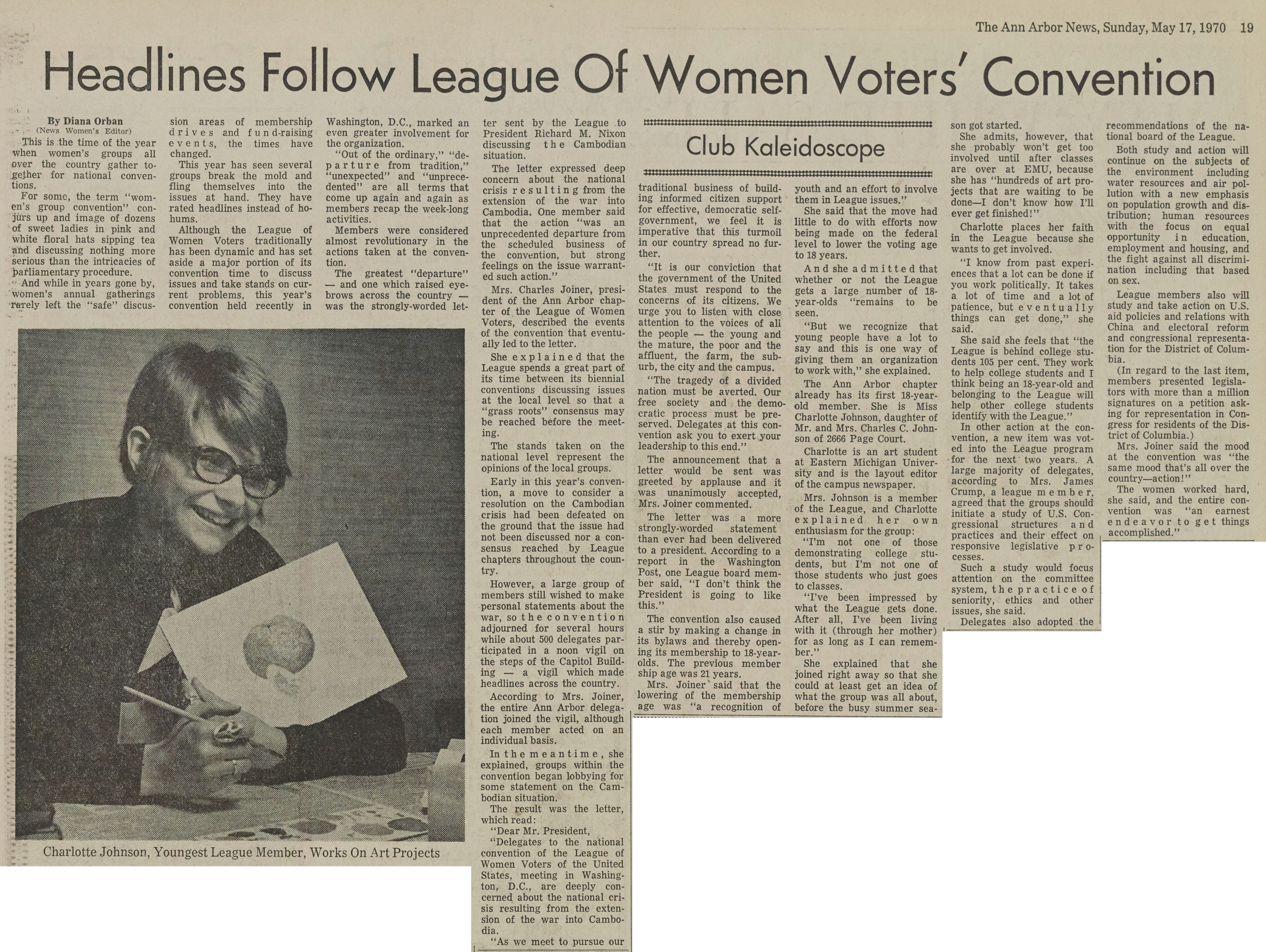 Headlines Follow League Of Women Voters' Convention image