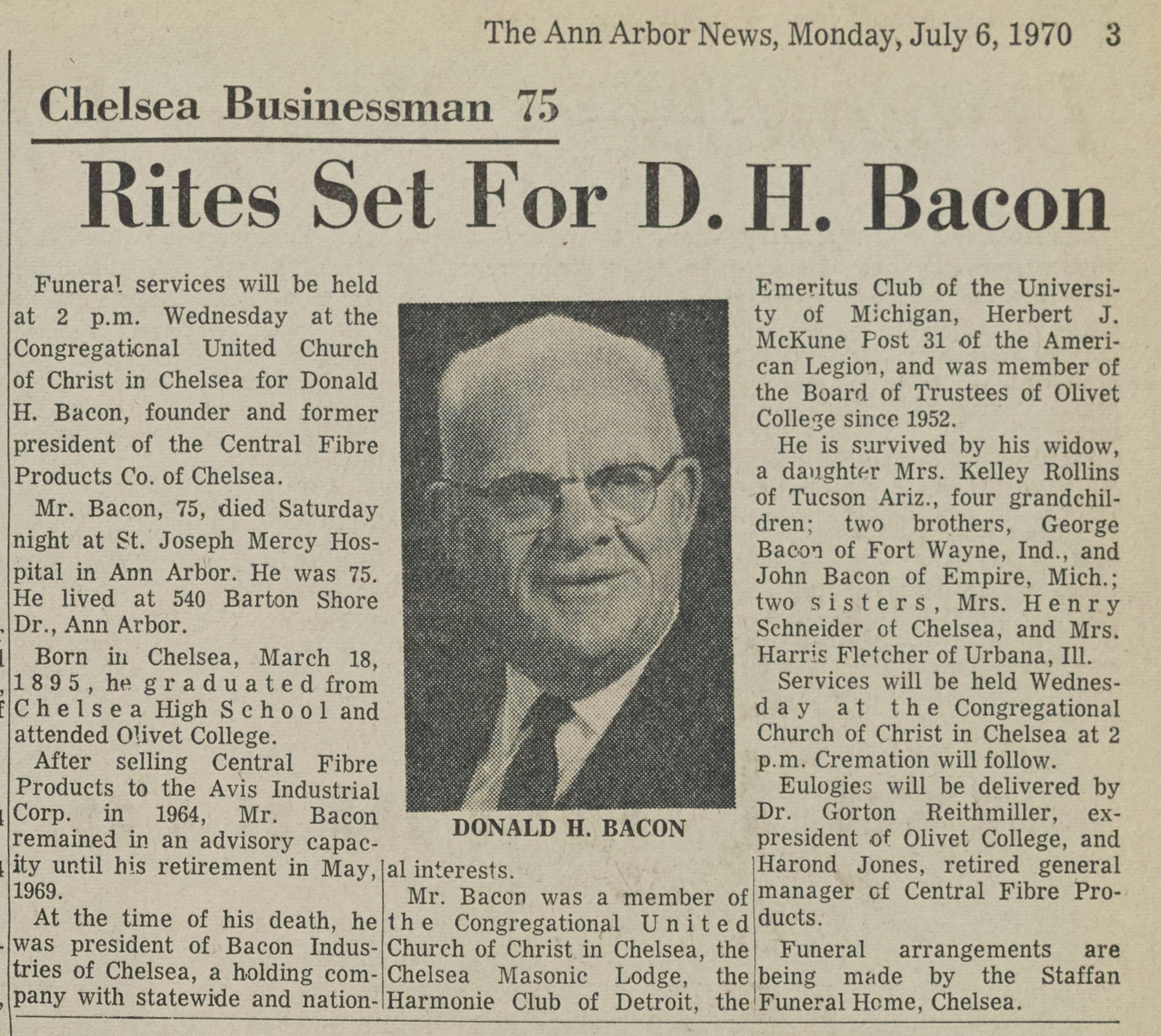 Rites Set For D. H. Bacon image