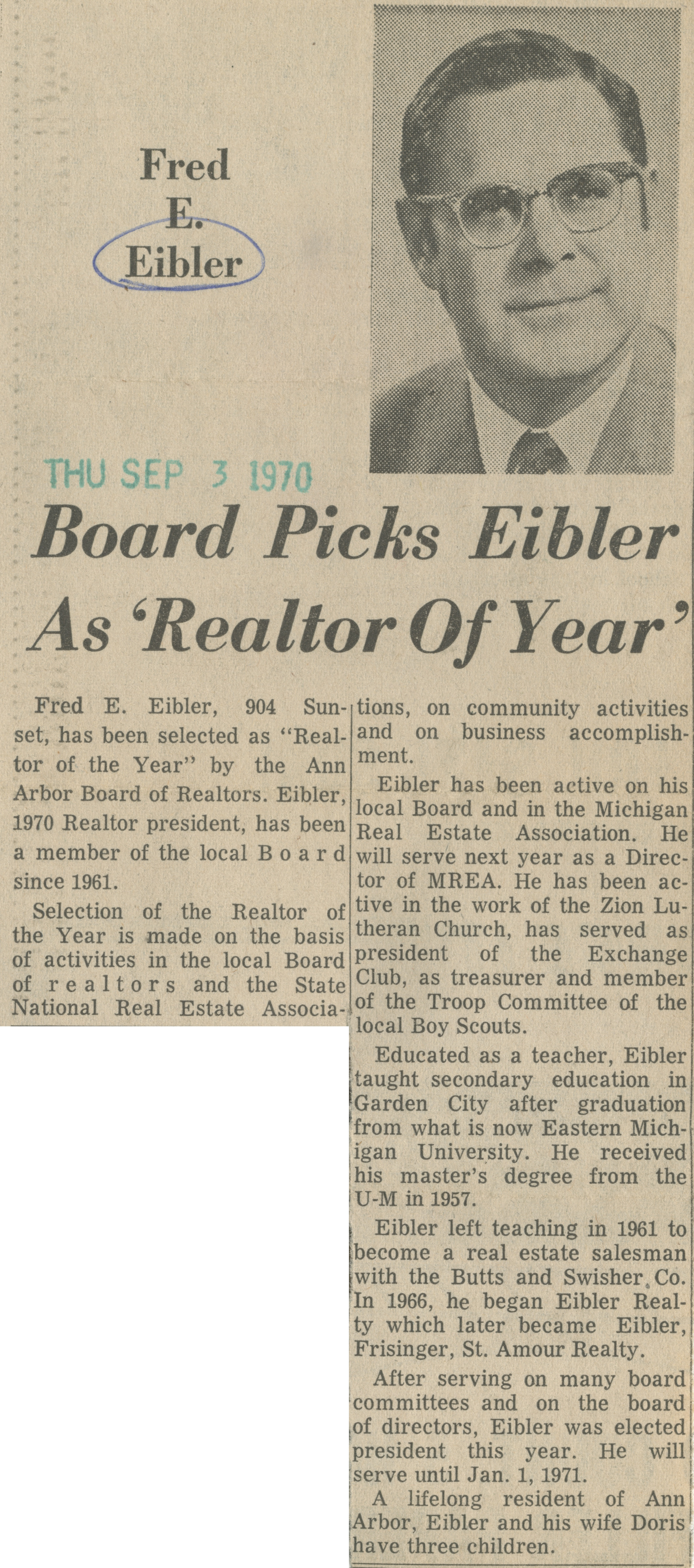 Board Picks Eibler As 'Realtor Of Year' image