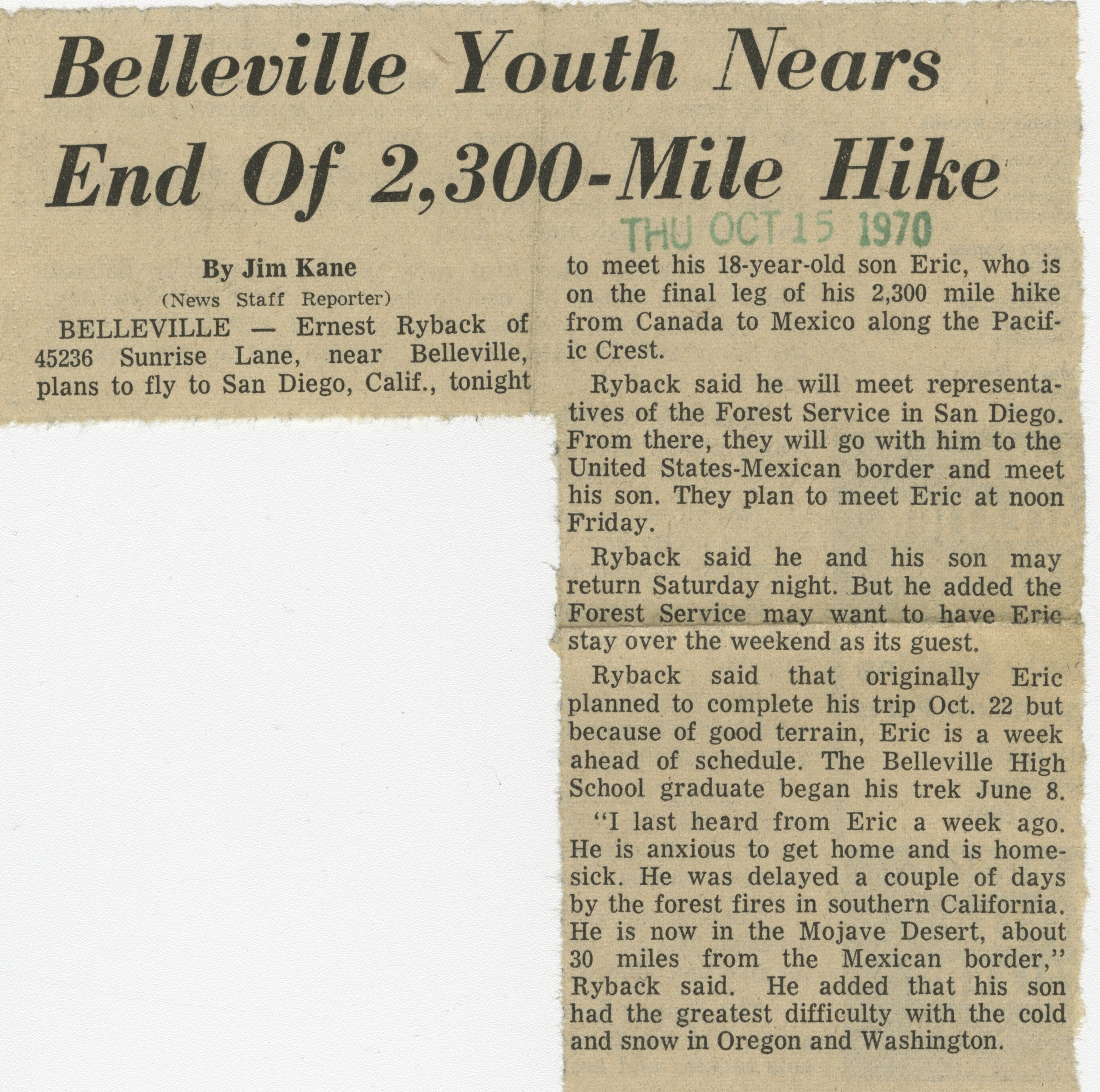 Belleville Youth Nears End Of 2,300-Mile Hike image