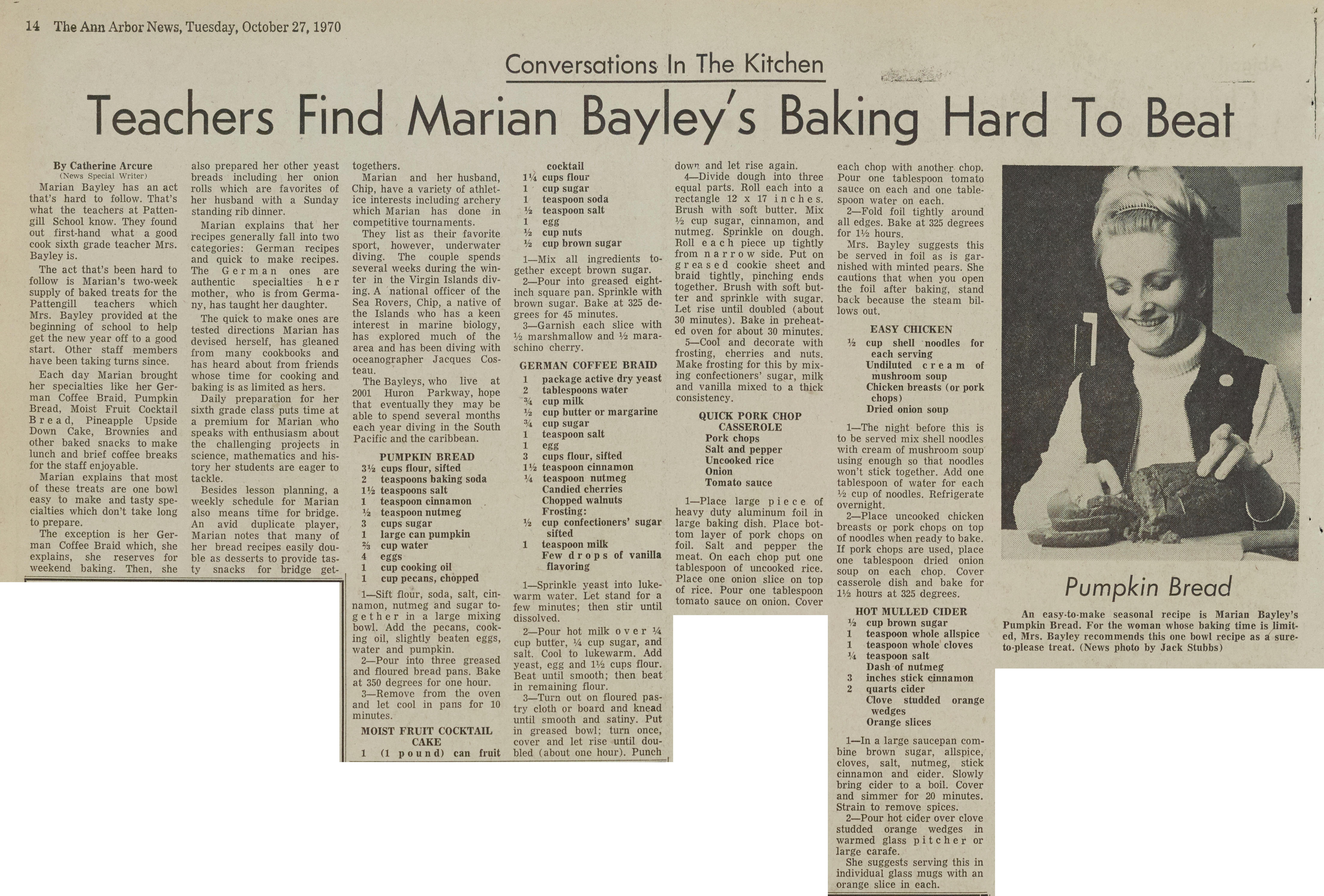 Teachers Find Marian Bayley's Baking Hard To Beat image