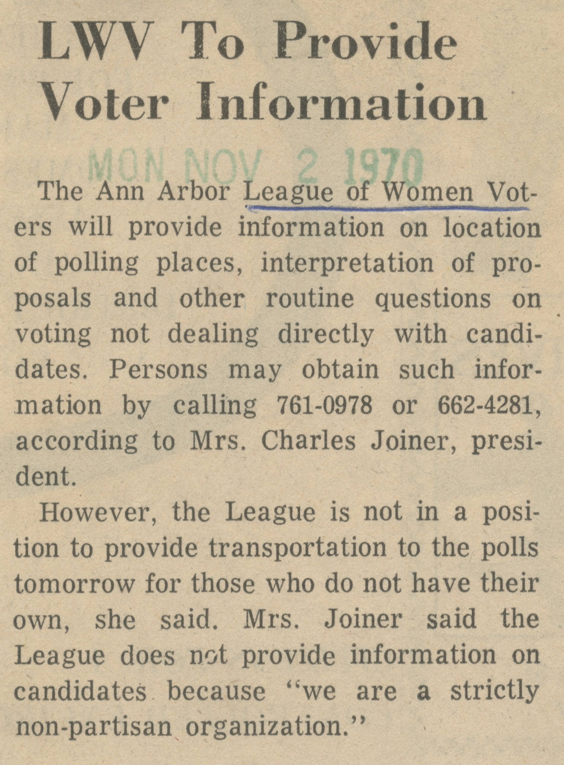 LWV To Provide Voter Information image