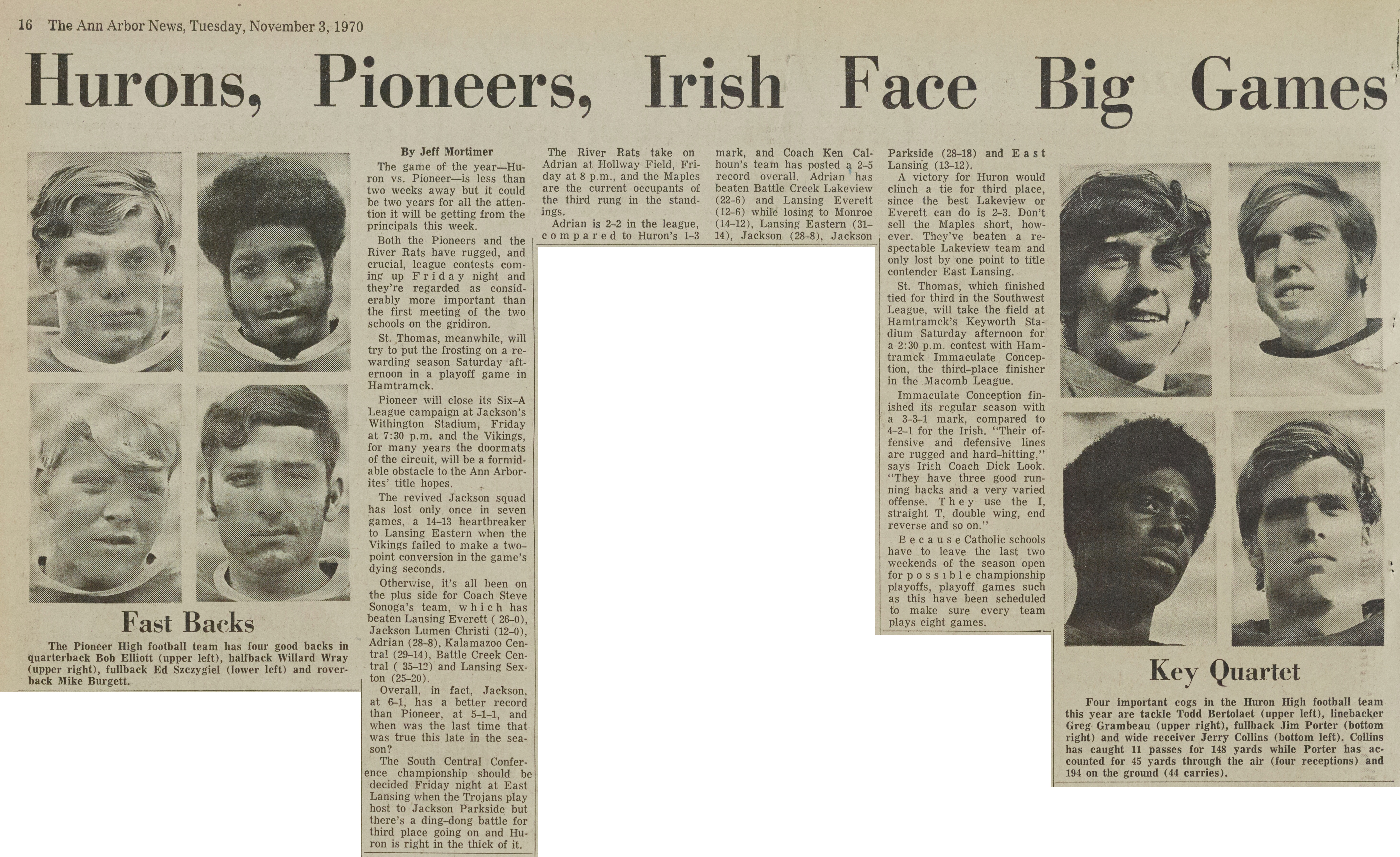 Hurons, Pioneers, Irish Face Big Games image