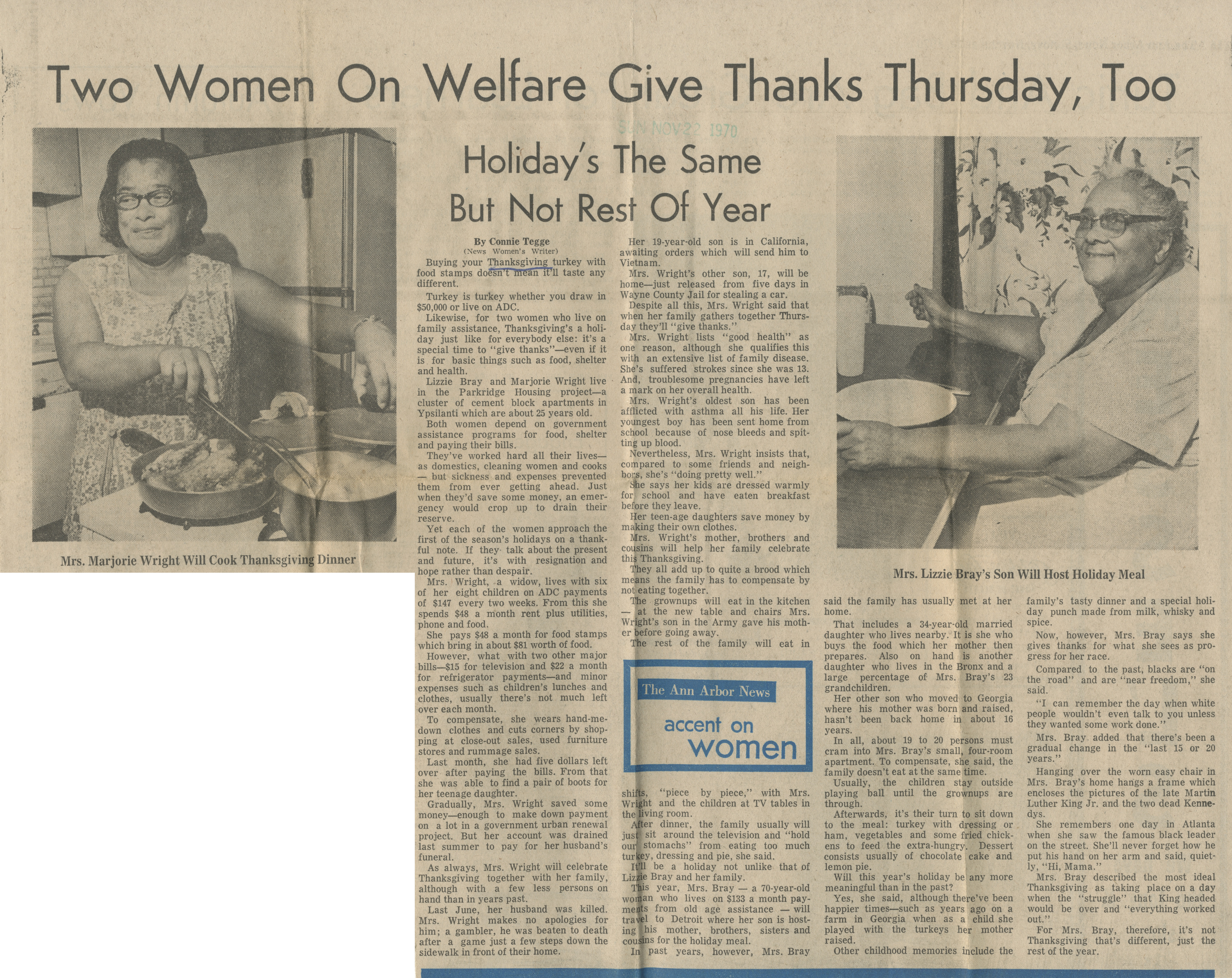 Two Women On Welfare Give Thanks Thursday, Too image