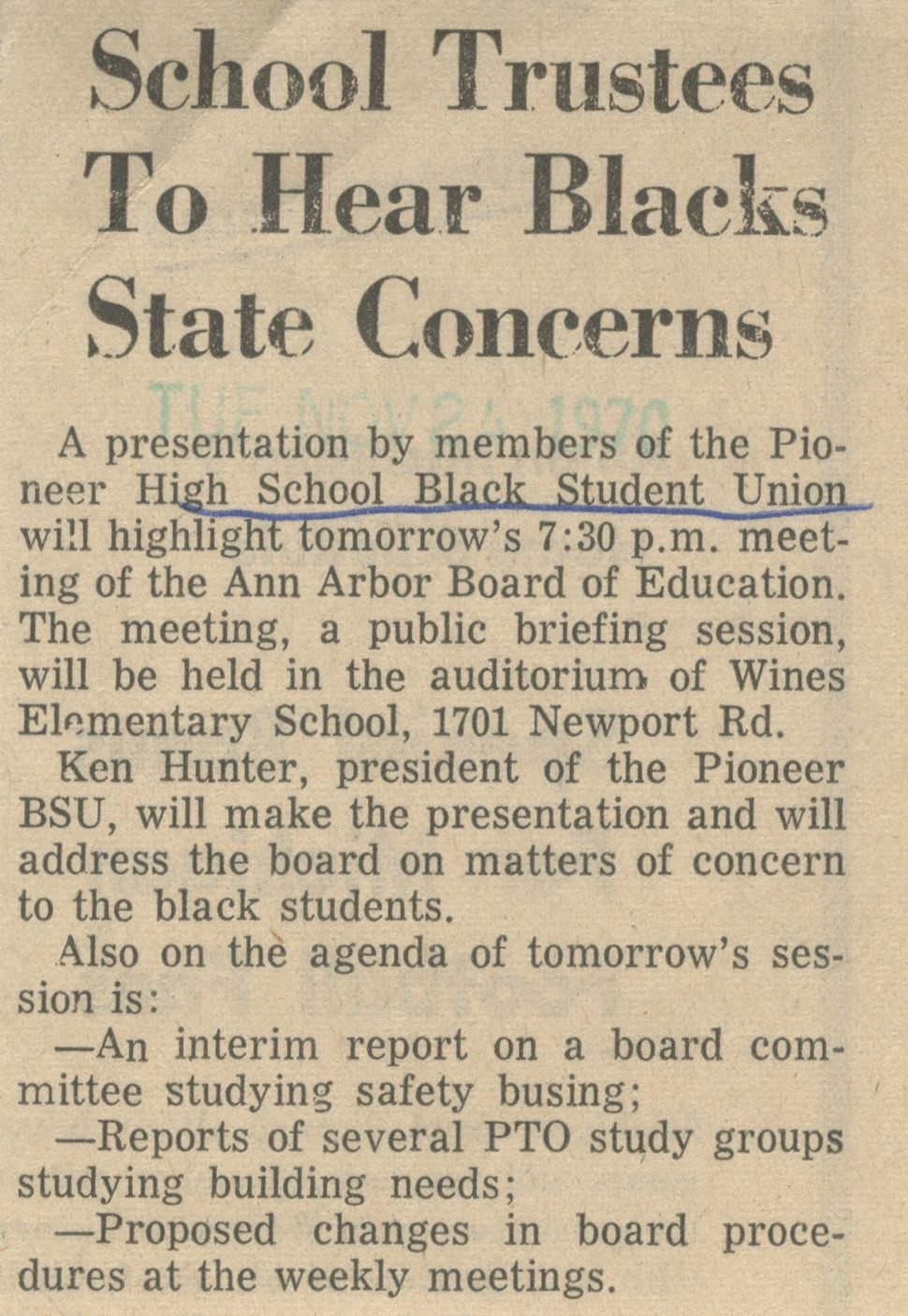 School Trustees To Hear Blacks State Concerns image