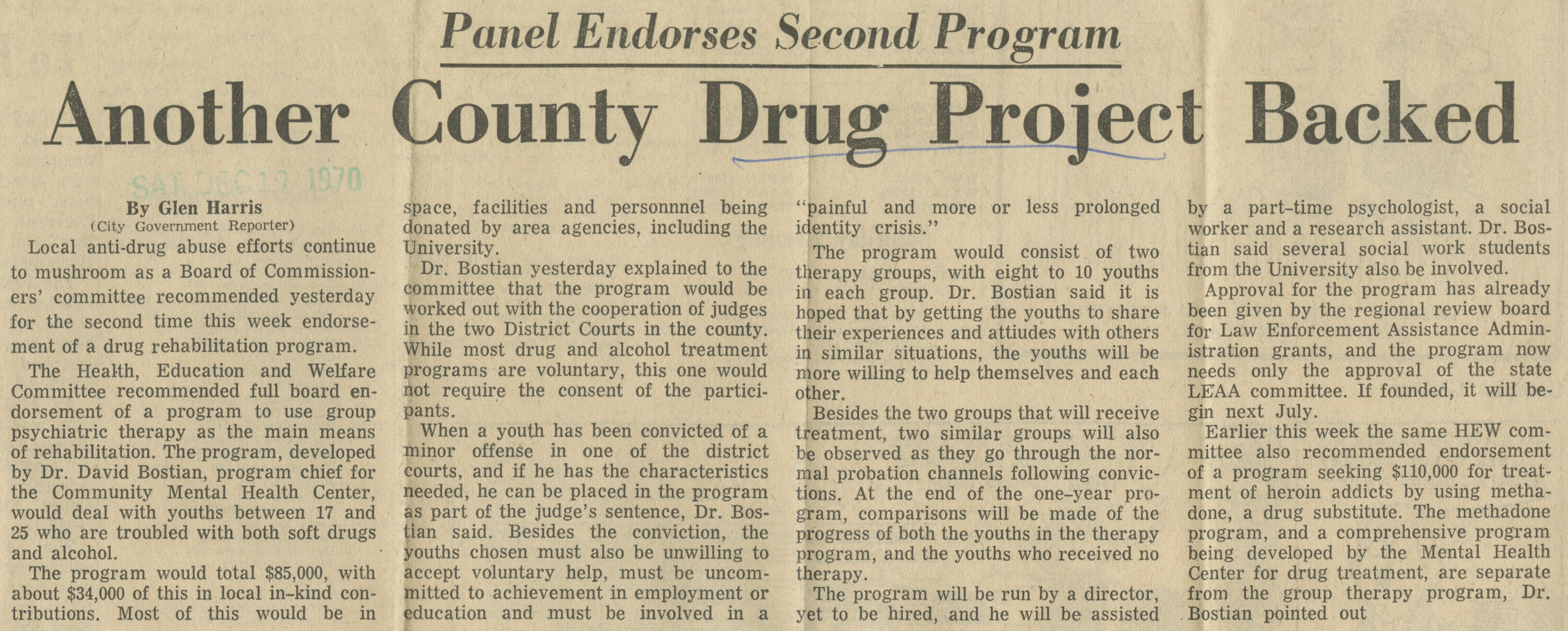 Another County Drug Project Backed  image