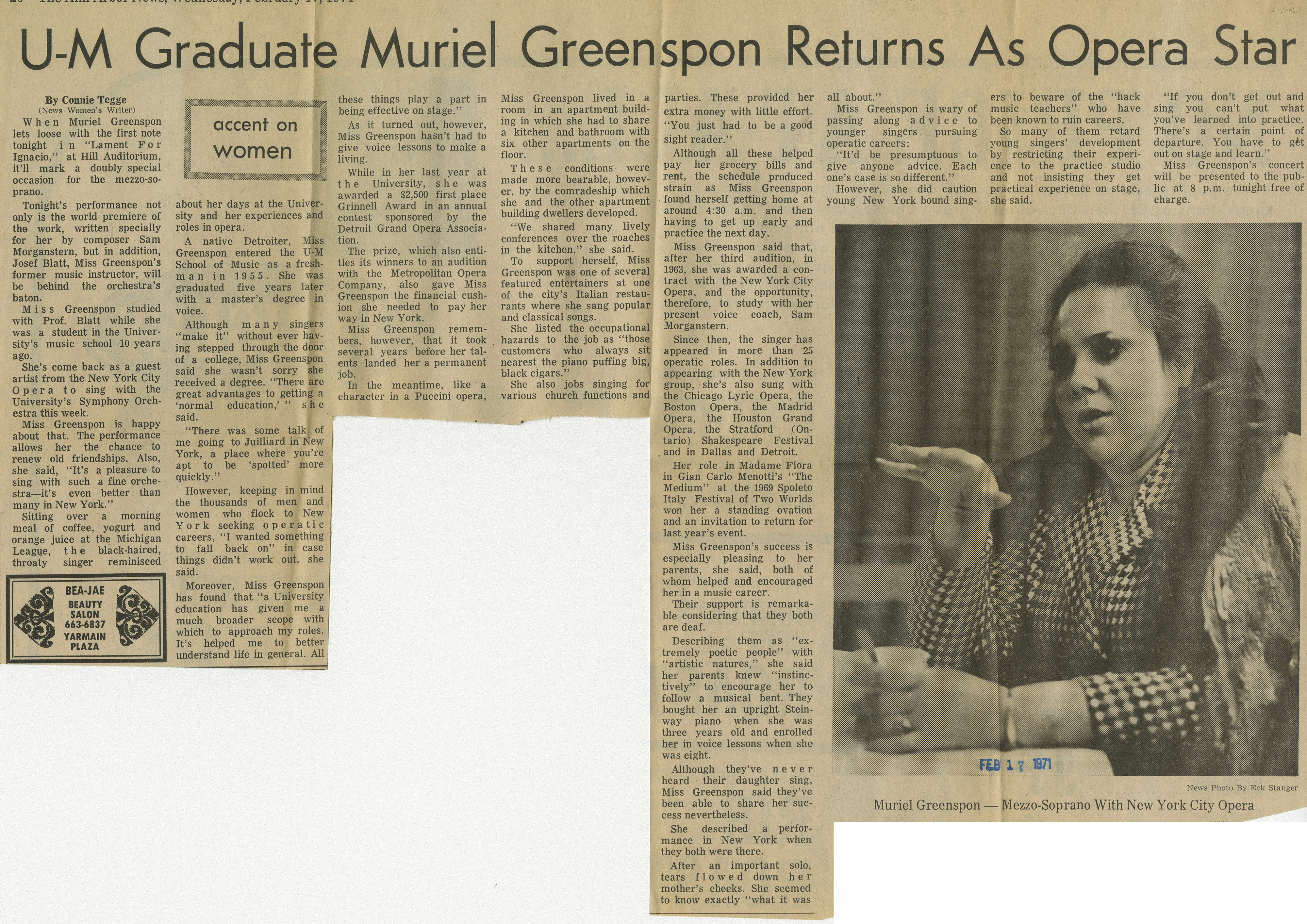U-M Graduate Muriel Greenspon Returns As Opera Star image