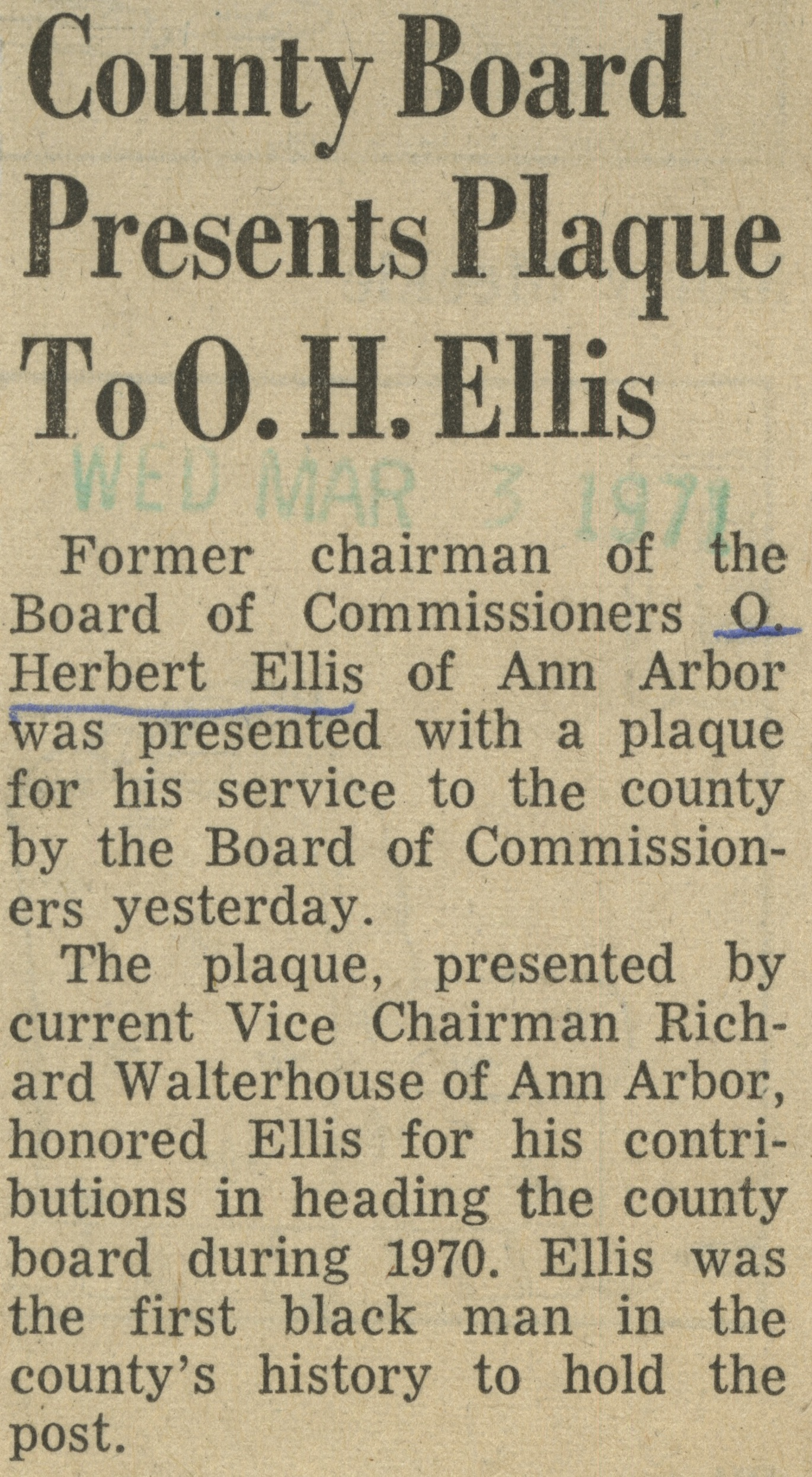 County Board Presents Plaque To O. H. Ellis image