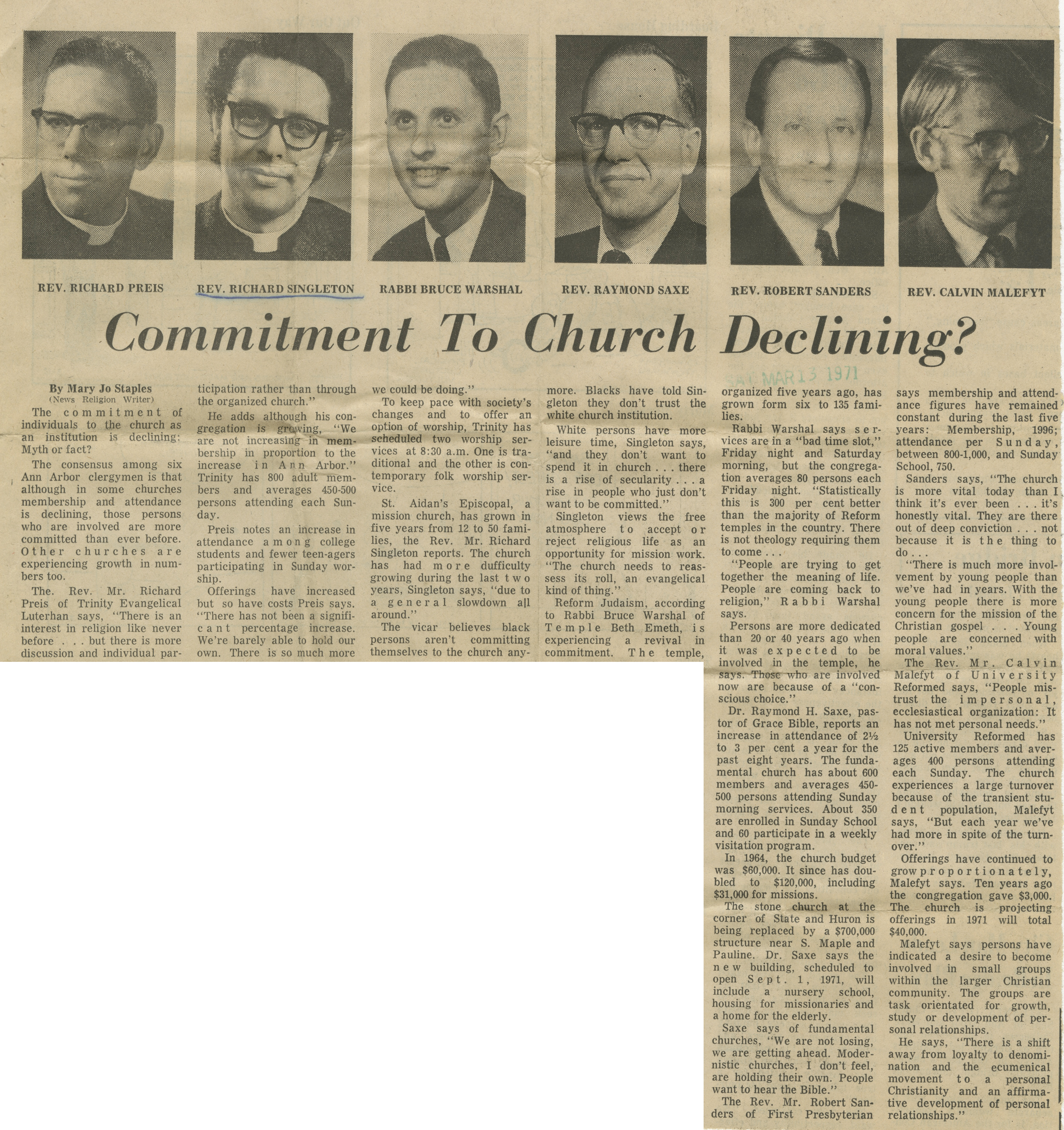 Commitment To Church Declining? image
