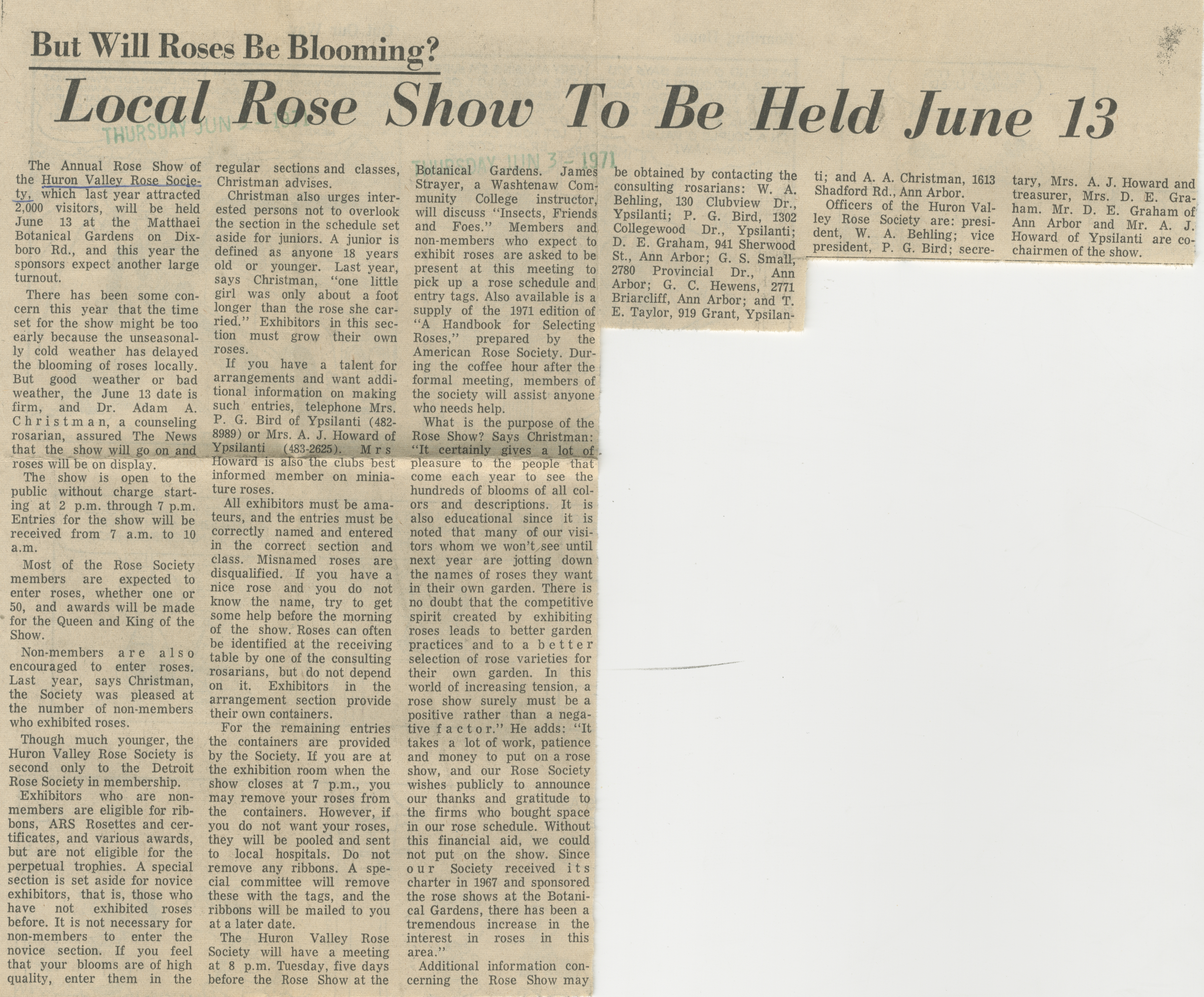 Local Rose Show To Be Held June 13 image