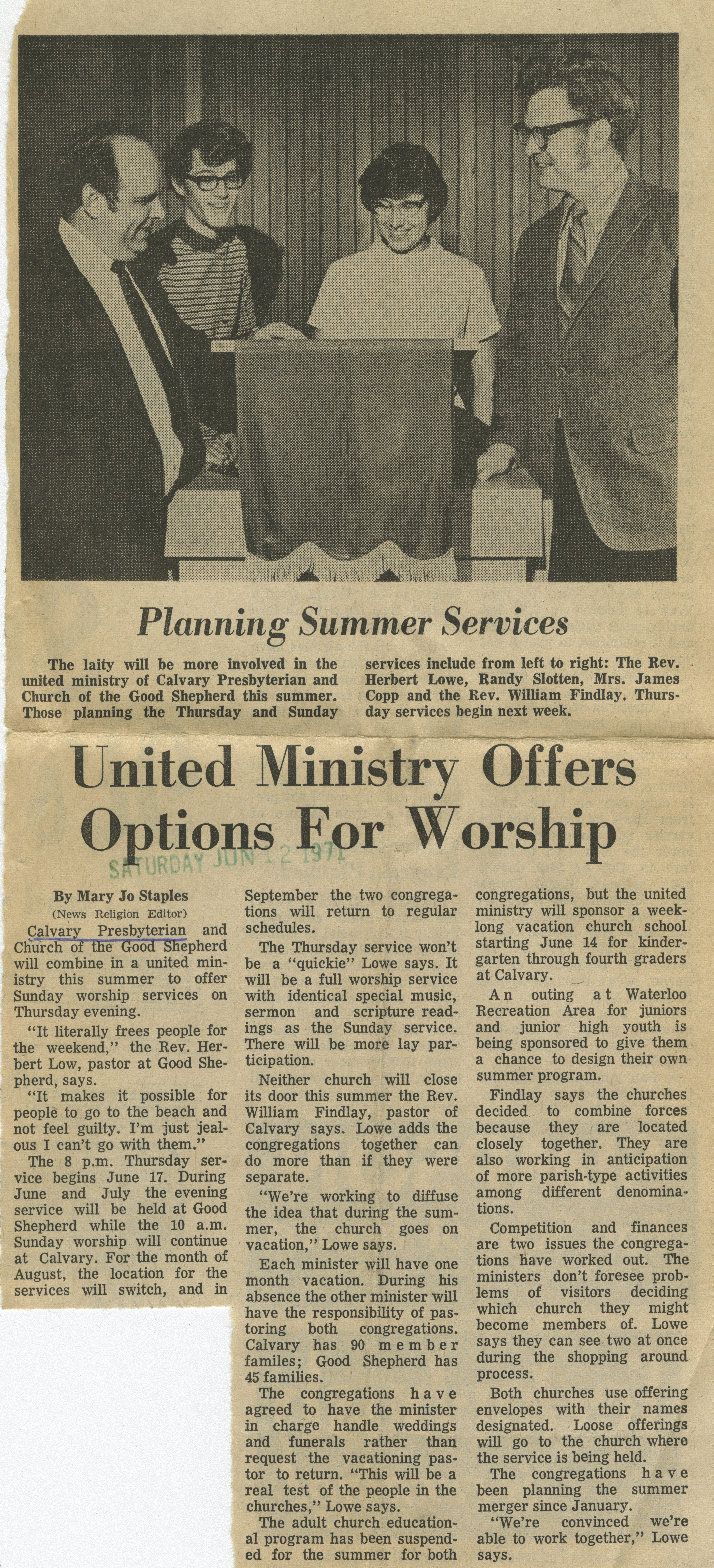 United Ministry Offers Options For Worship image