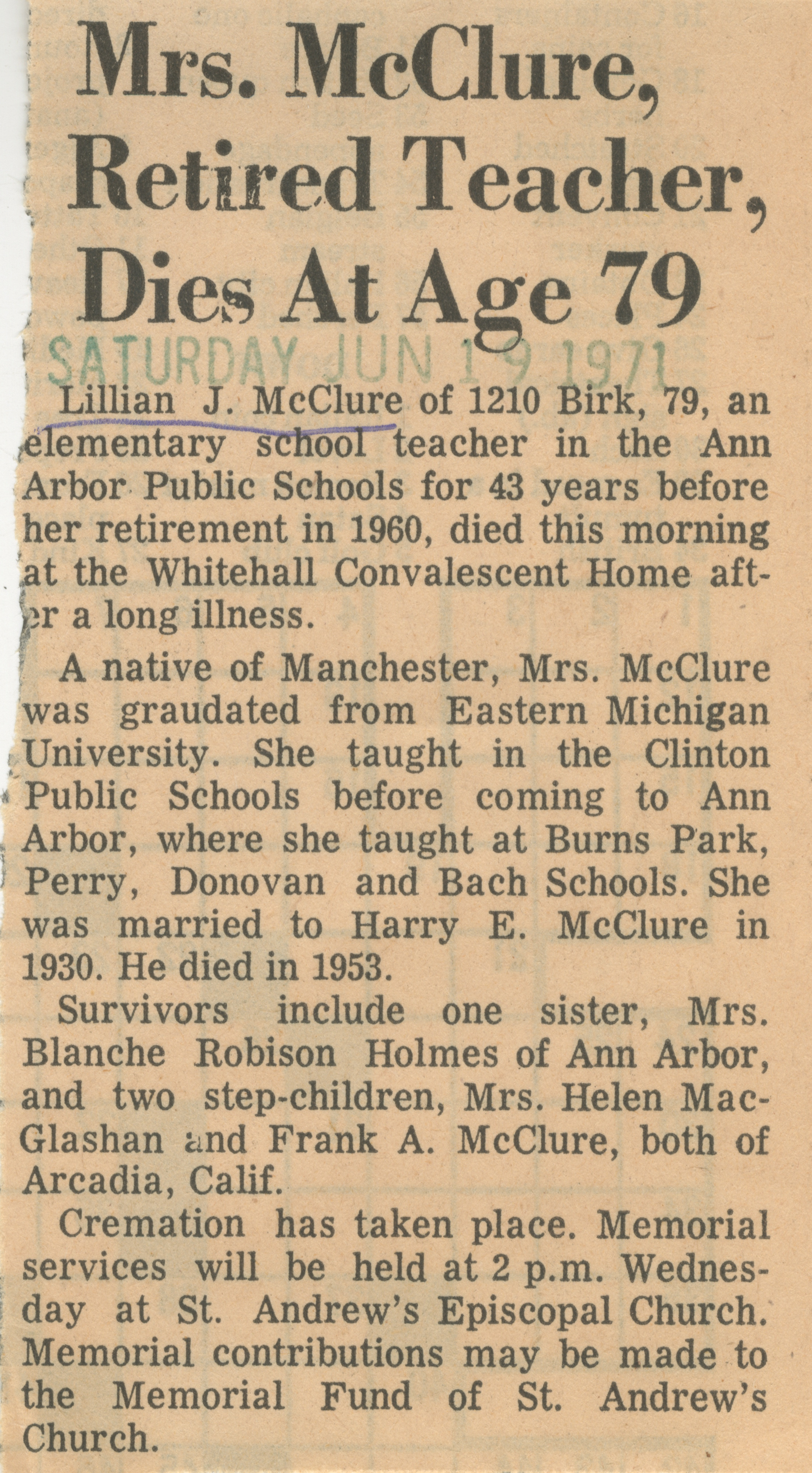 Mrs. McClure, Retired Teacher, Dies At Age 79 image