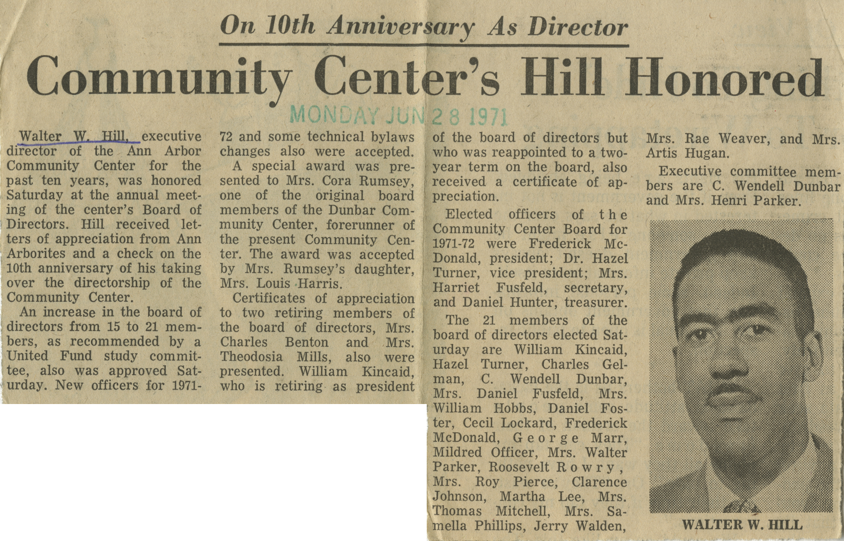 Community Center's Hill Honored image