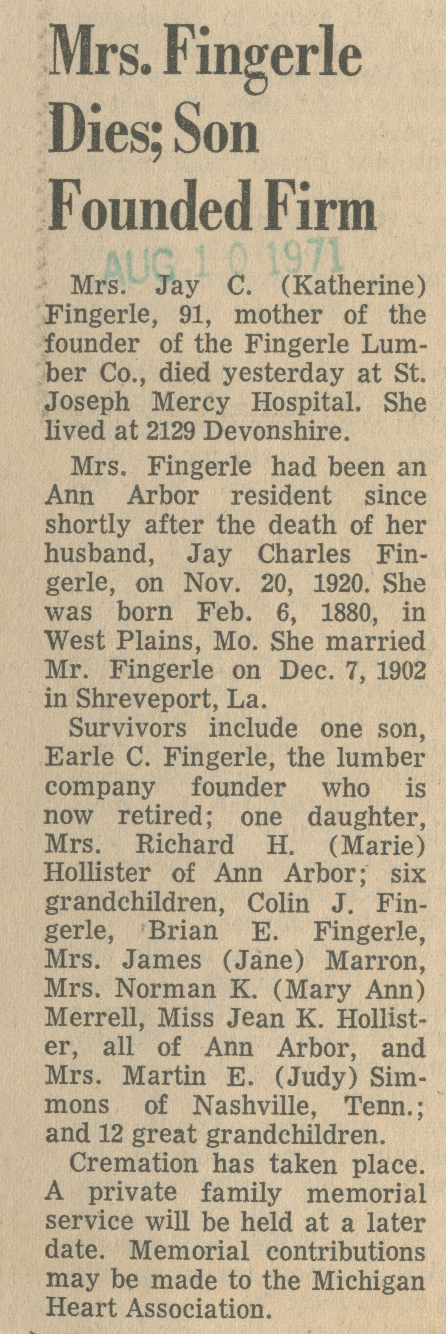 Mrs. Fingerle Dies; Son Founded Firm image