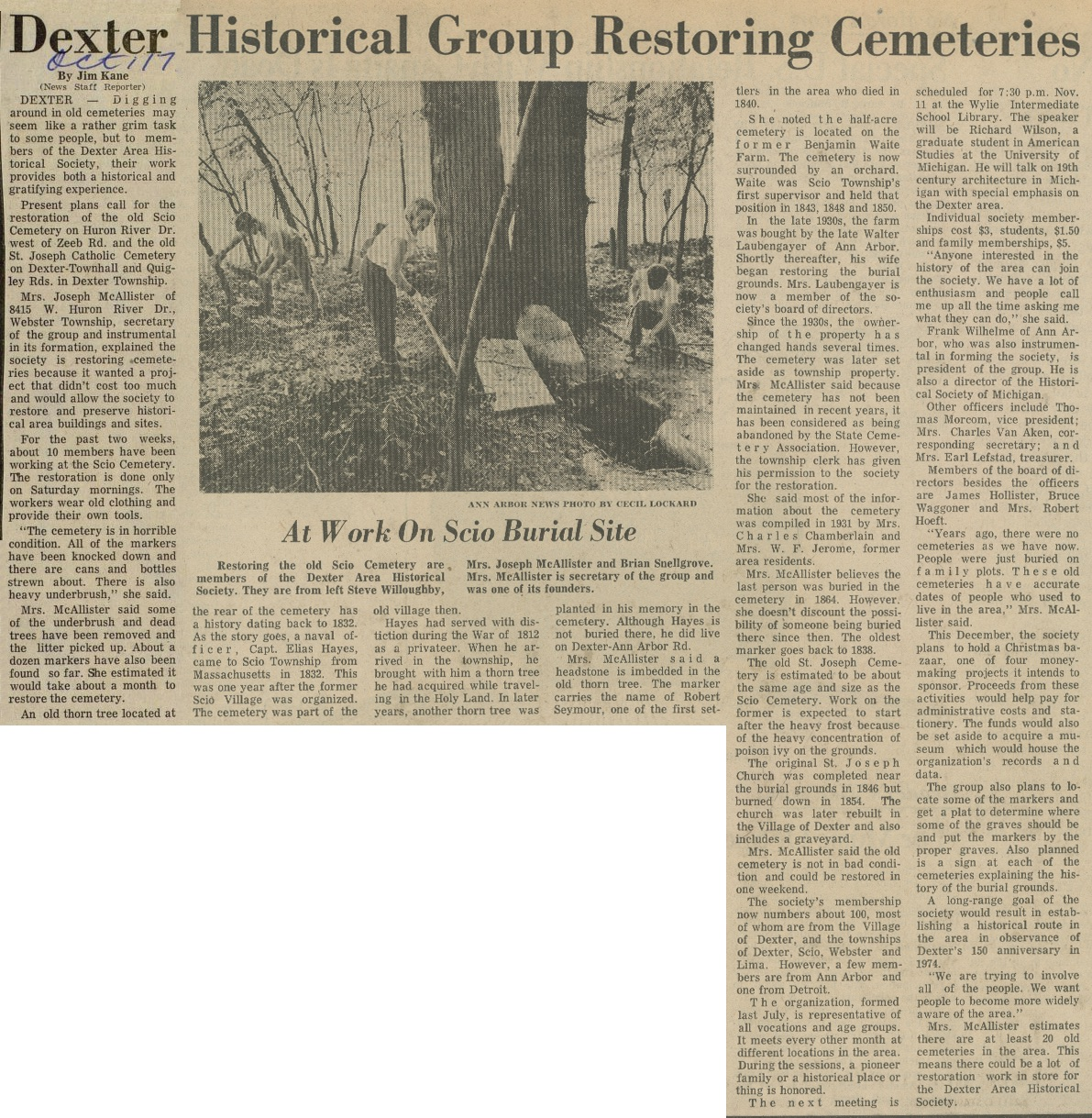 Dexter Historical Group Restoring Cemeteries image