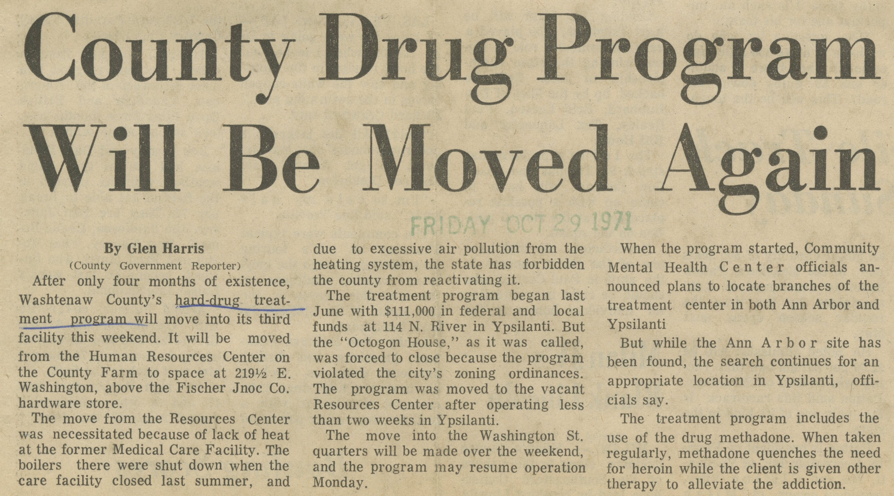County Drug Program Will Be Moved Again image
