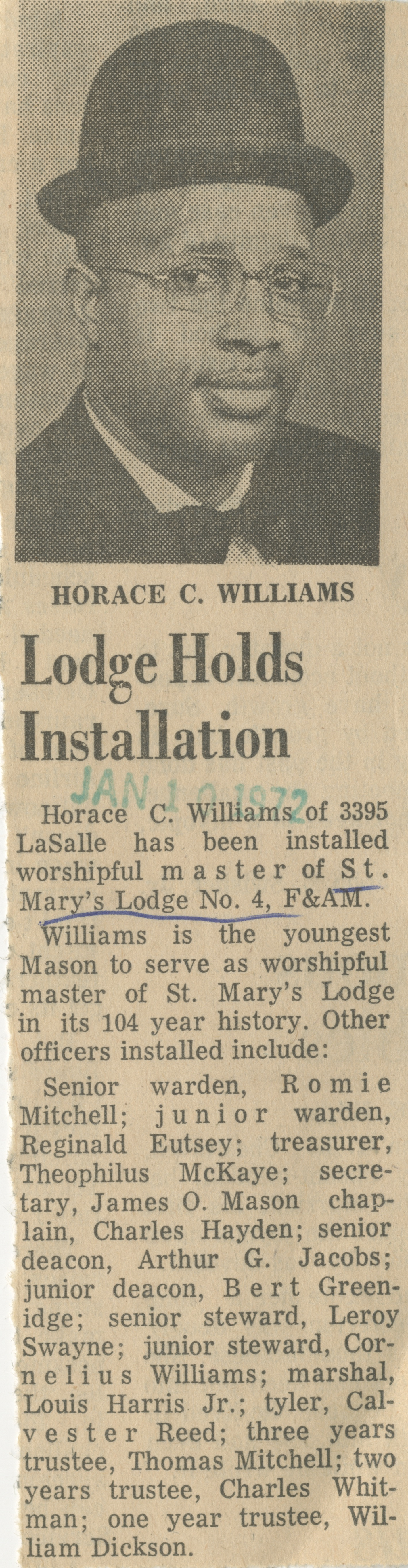 Lodge Holds Installation image