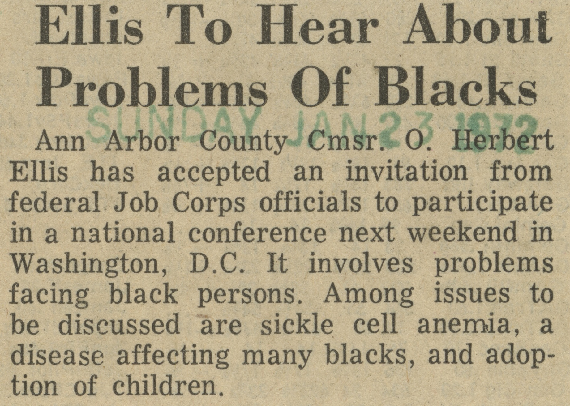 Ellis To Hear About Problems Of Blacks image