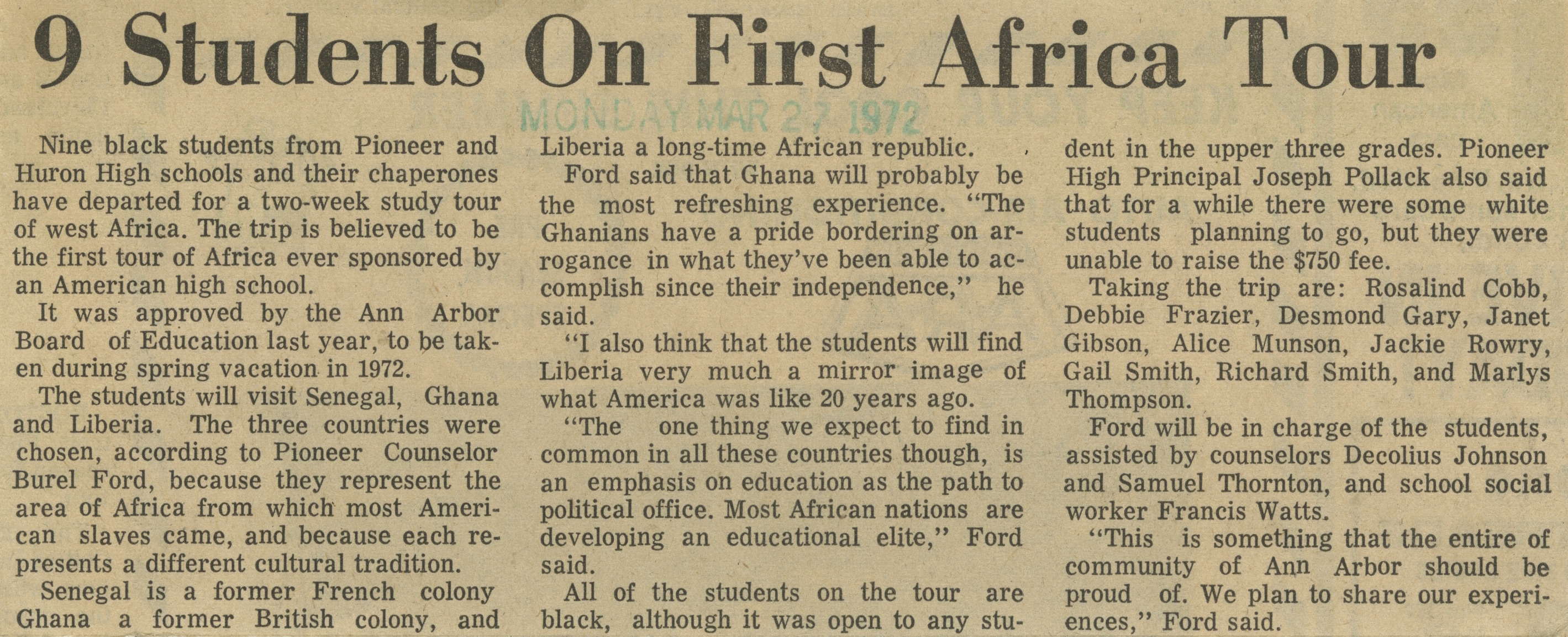 9 Students On First Africa Tour image