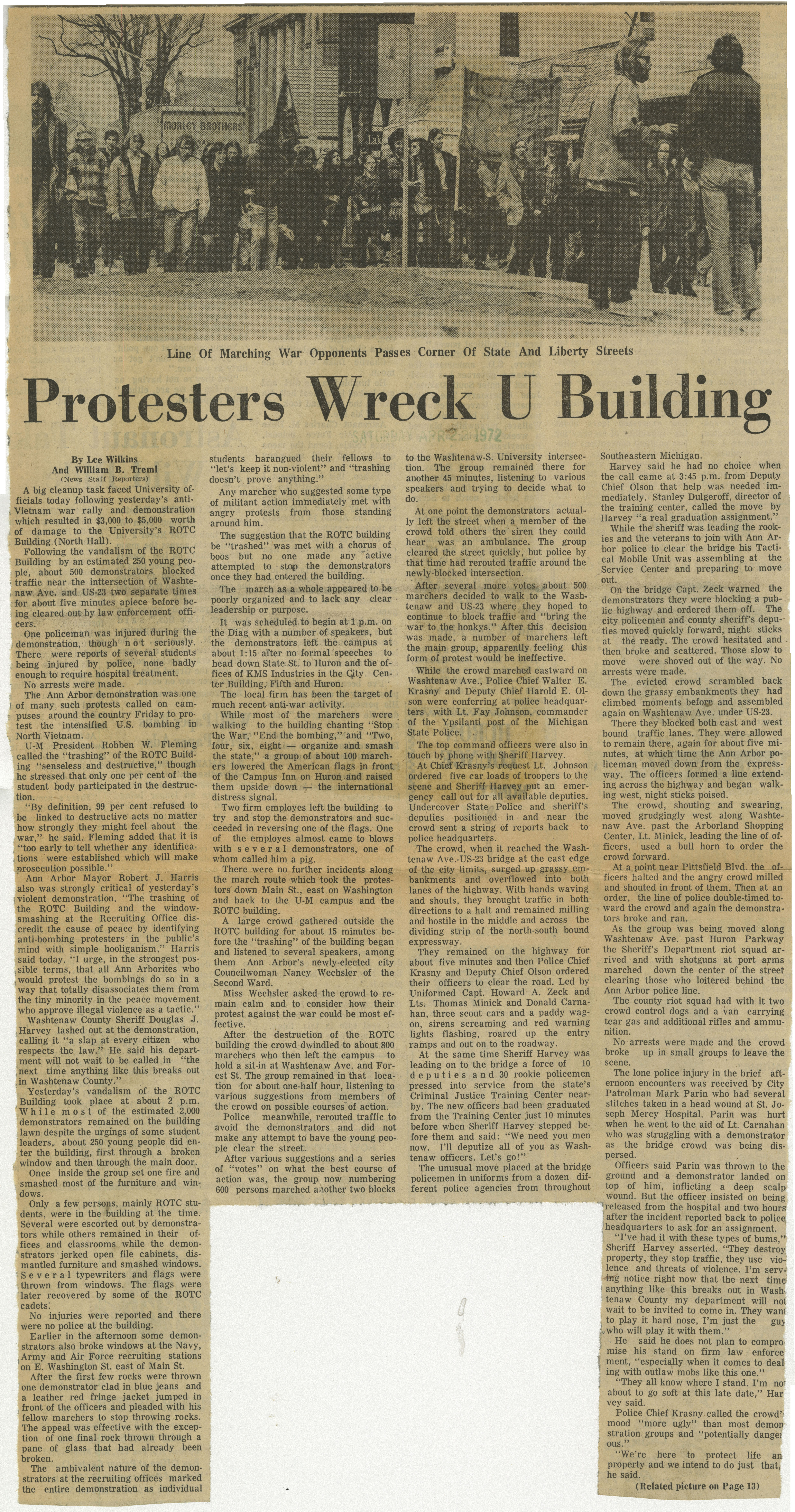 Protesters Wreck U Building image