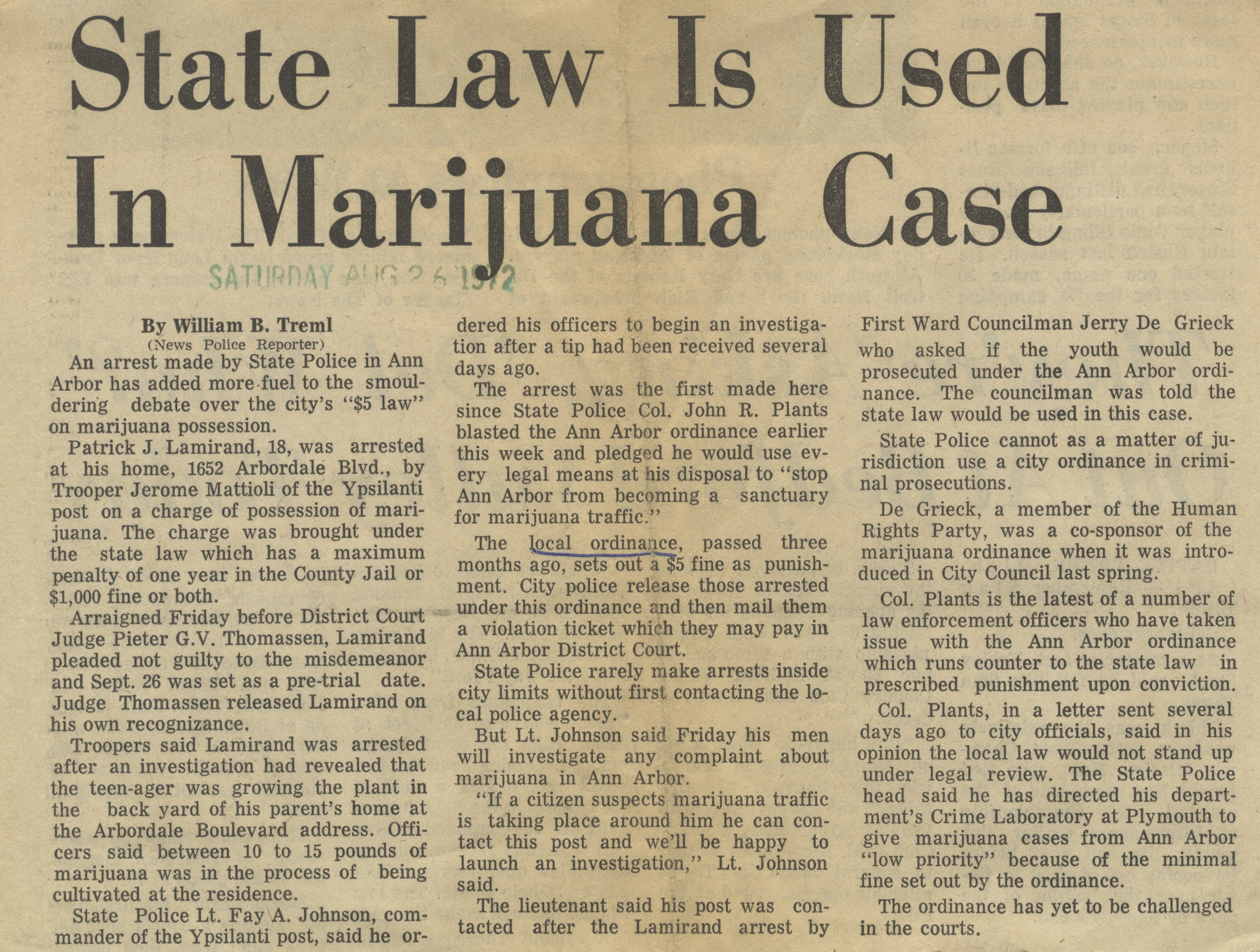 State Law Is Used In Marijuana Case image