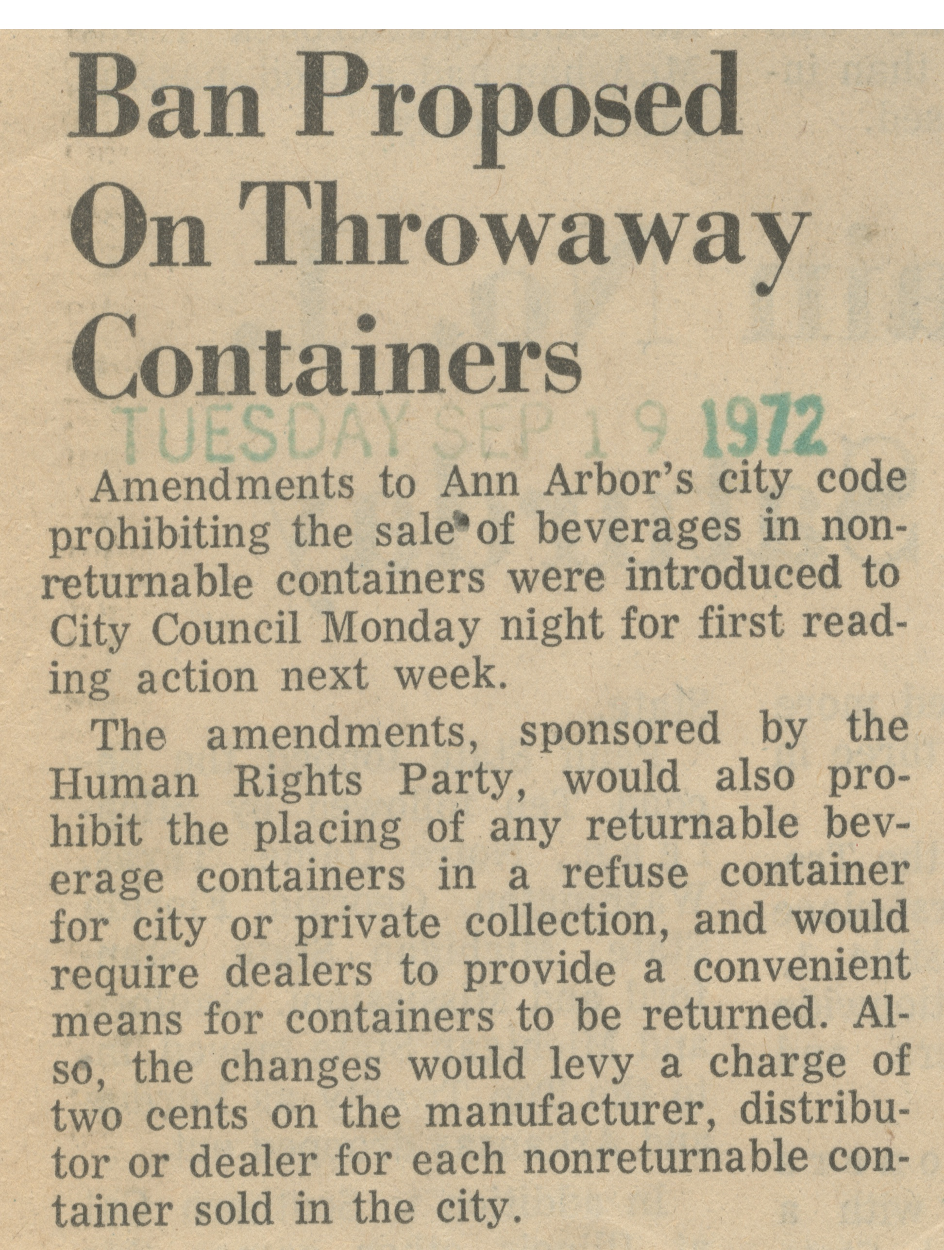 Ban Proposed On Throwaway Containers image