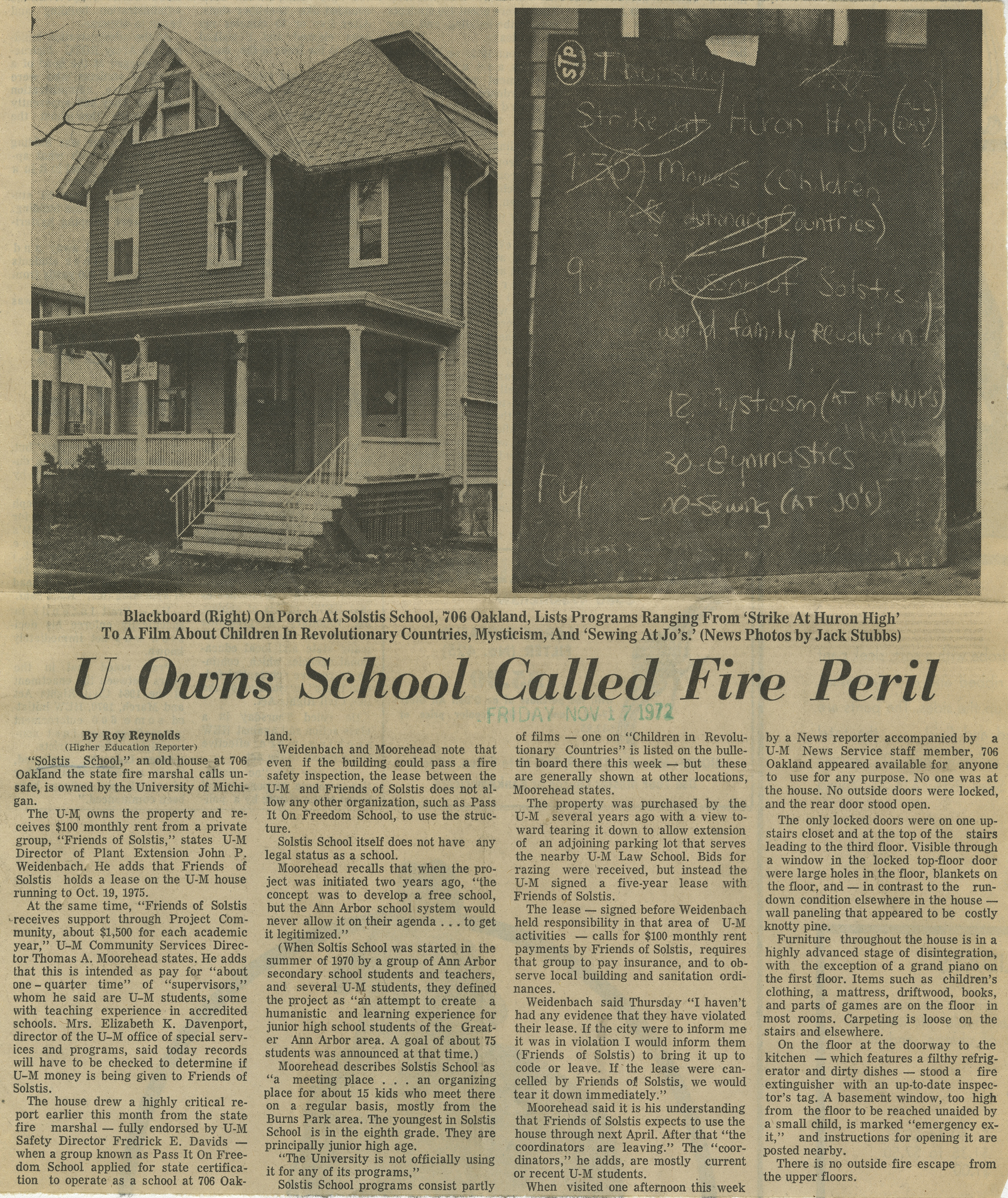 U Owns School Called Fire Peril image