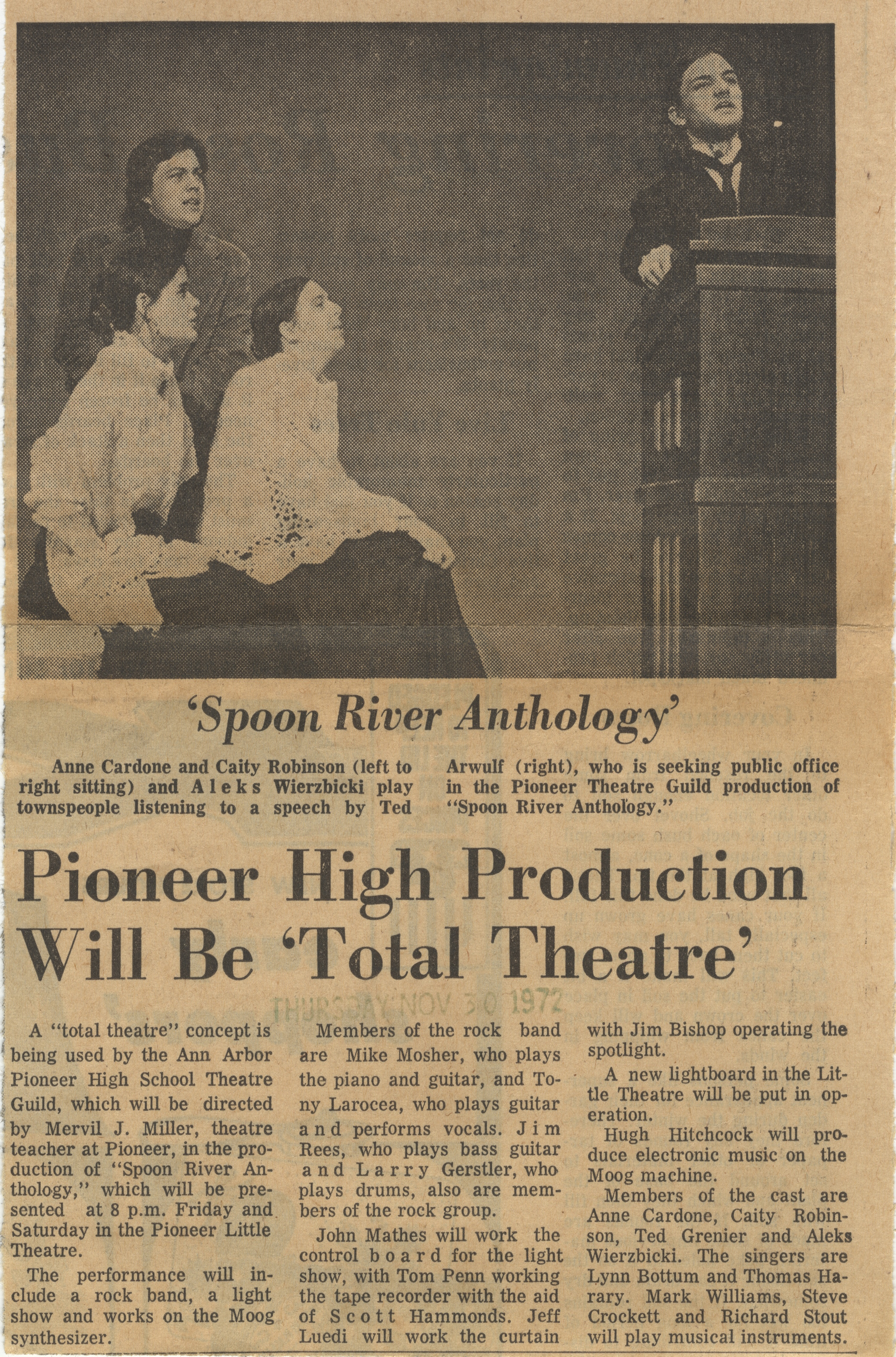 Pioneer High Production Will Be 'Total Theatre' image