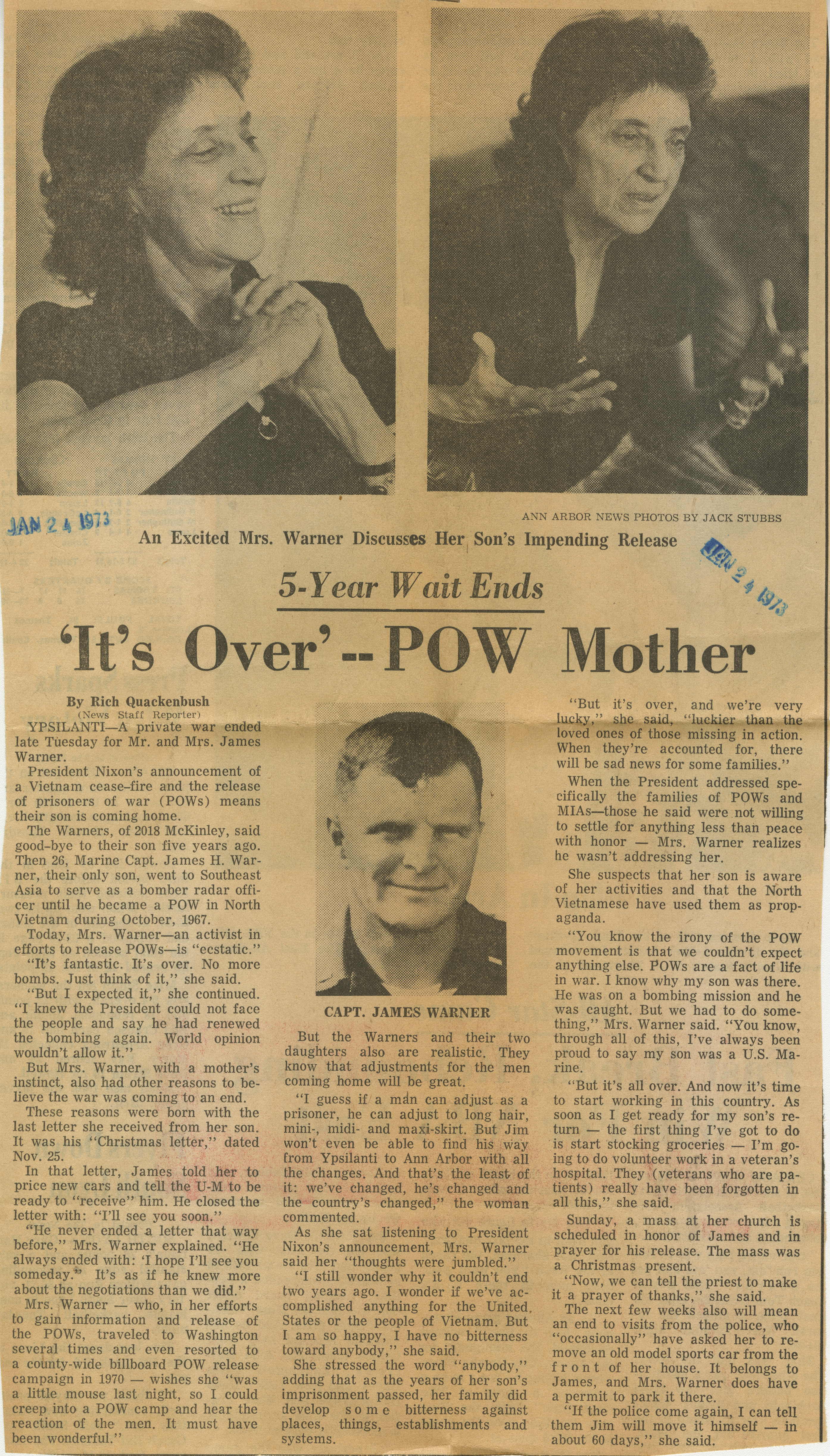'It's Over' -- POW Mother image