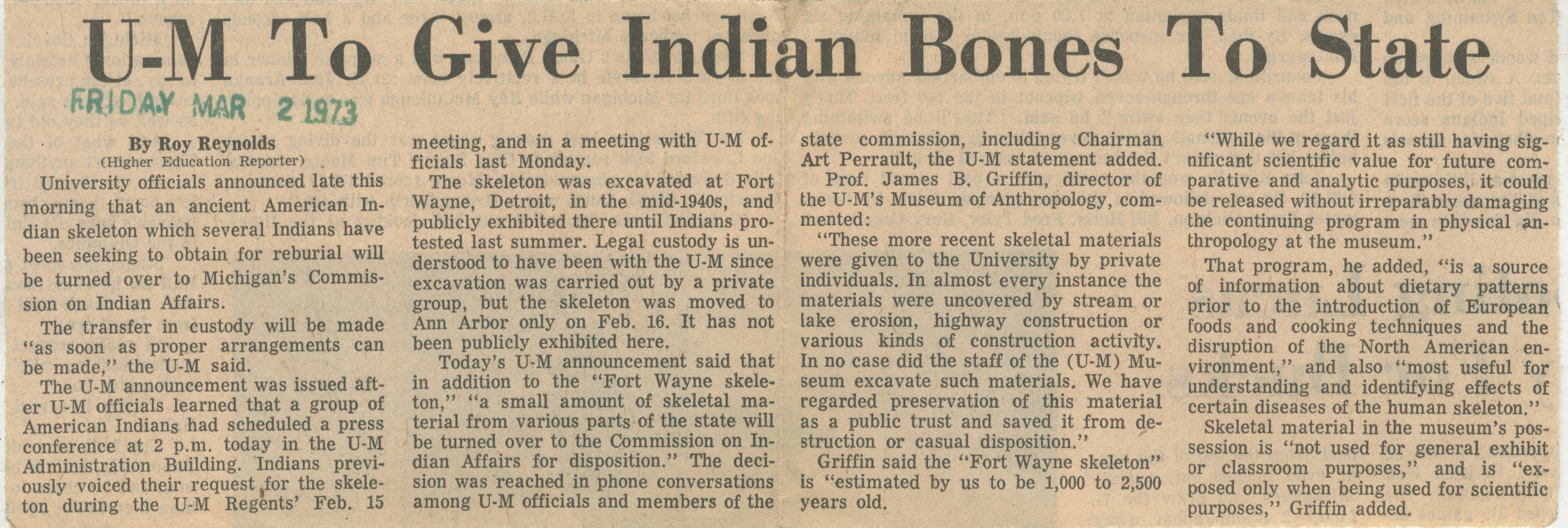 U-M To Give Indian Bones To State image