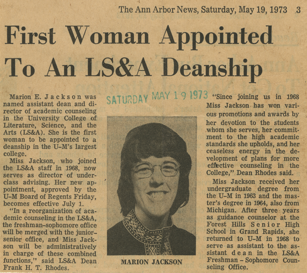 First Woman Appointed To An LS&A Deanship image