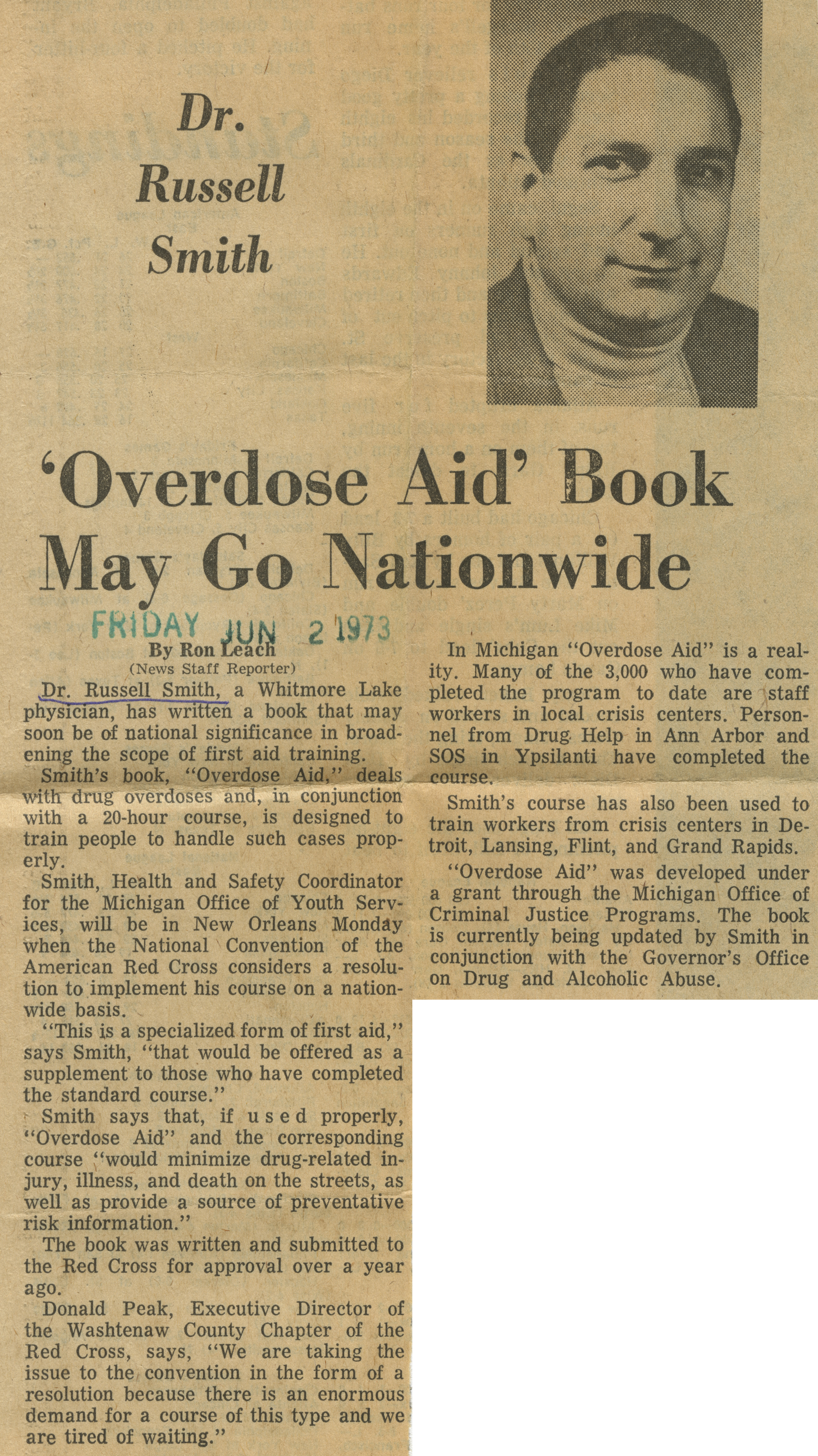 'Overdose Aid' Book May Go Nationwide image