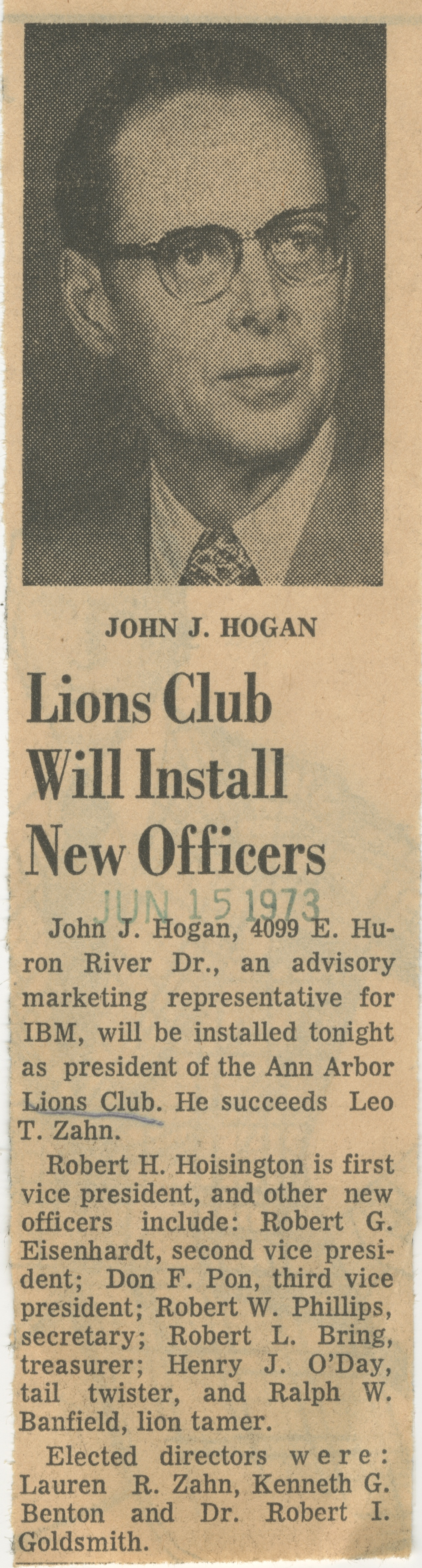 Lions Club Will Install New Officers image