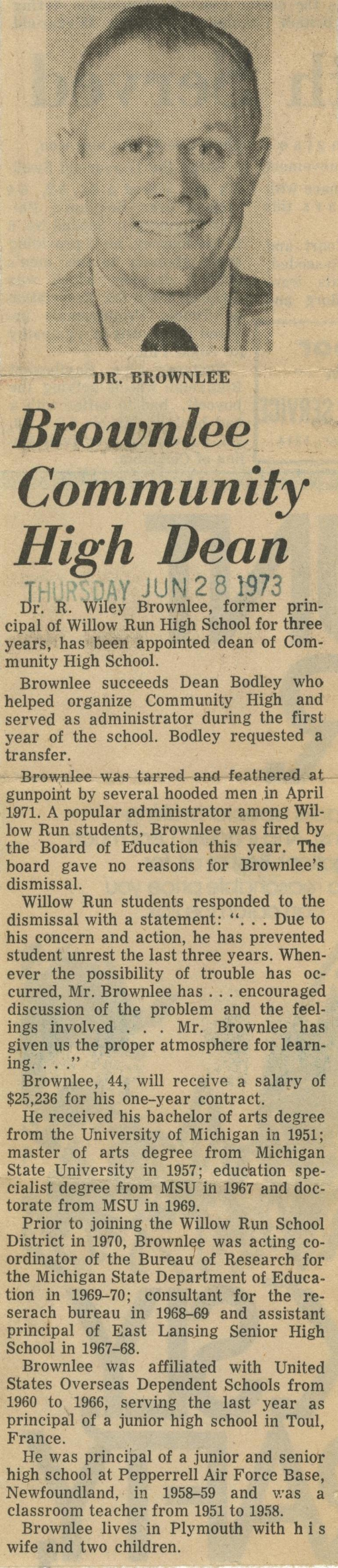 Brownlee Community High Dean image