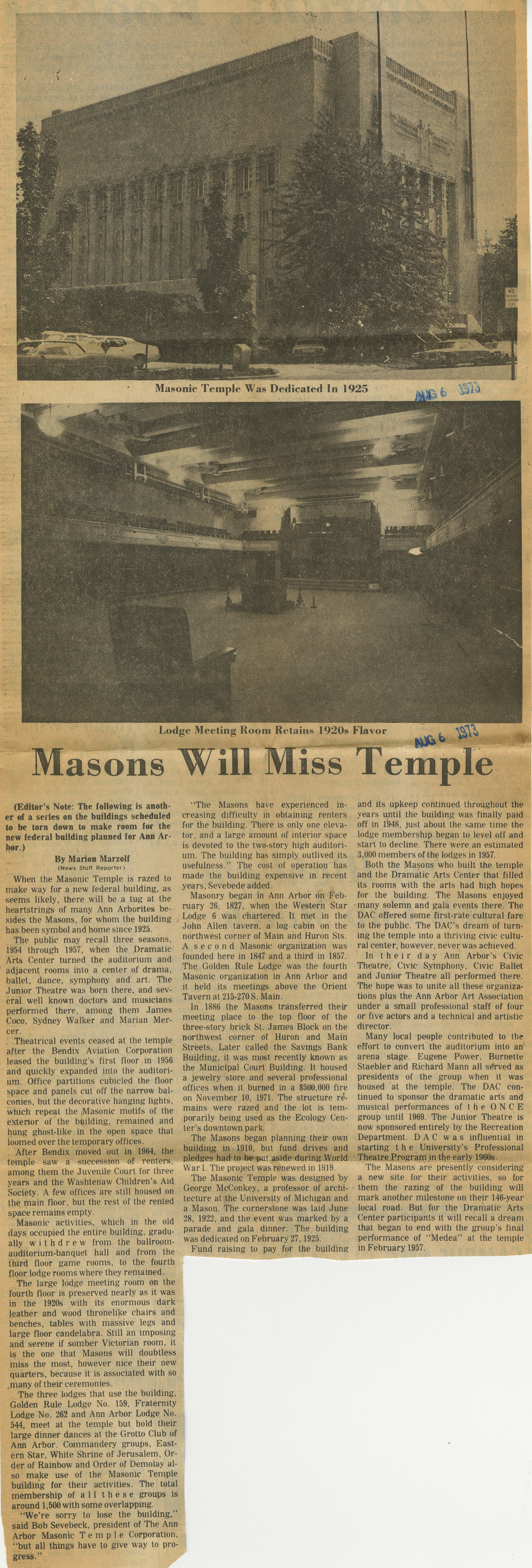 Masons Will Miss Temple image
