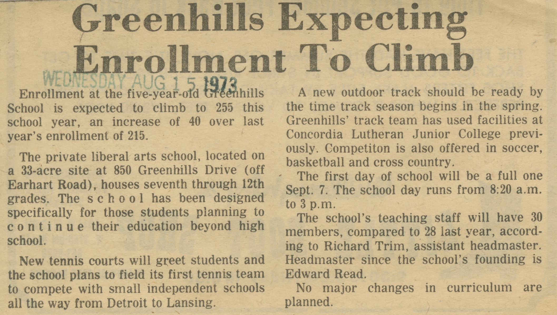 Greenhills Expecting Enrollment To Climb image