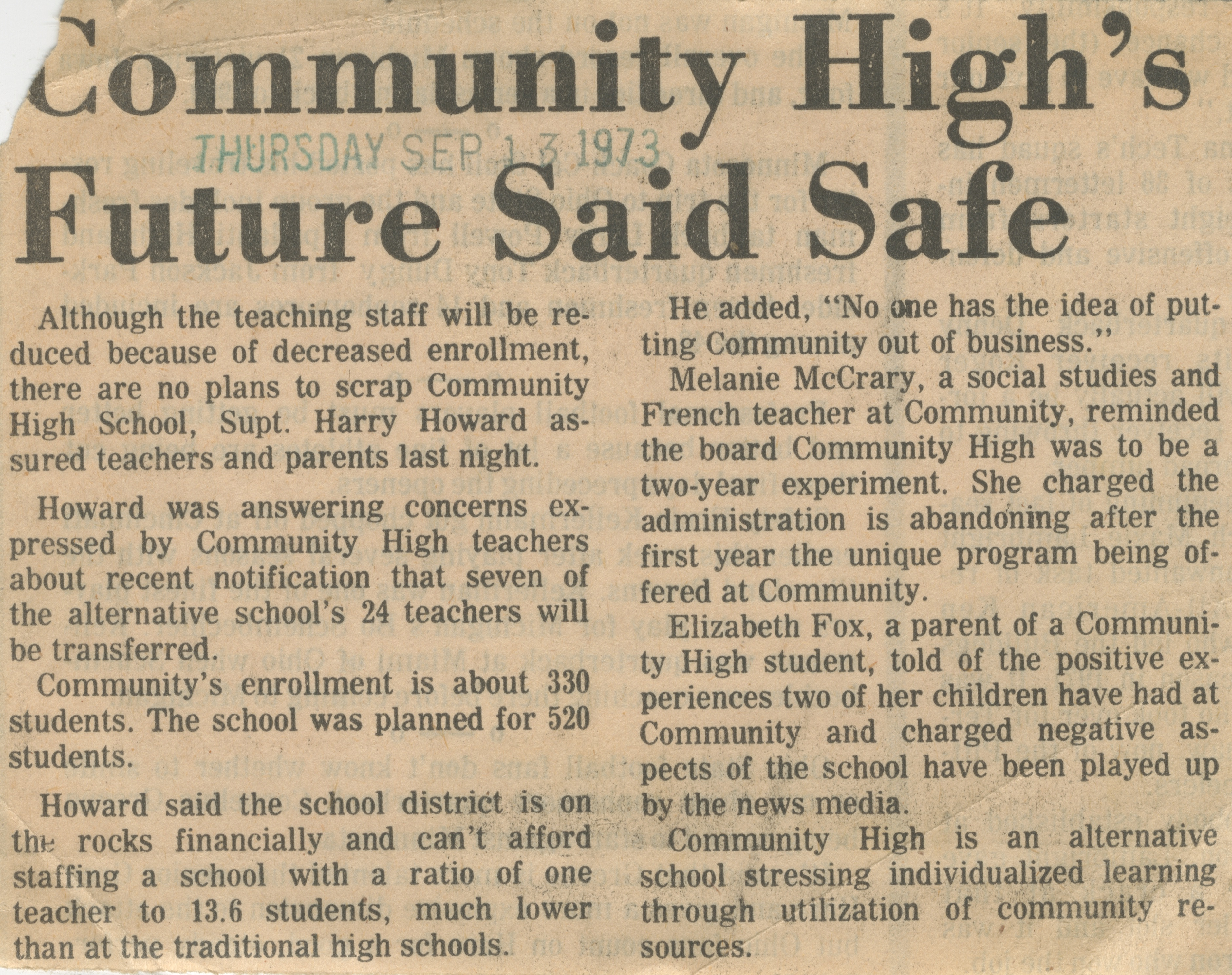Community High's Future Said Safe image
