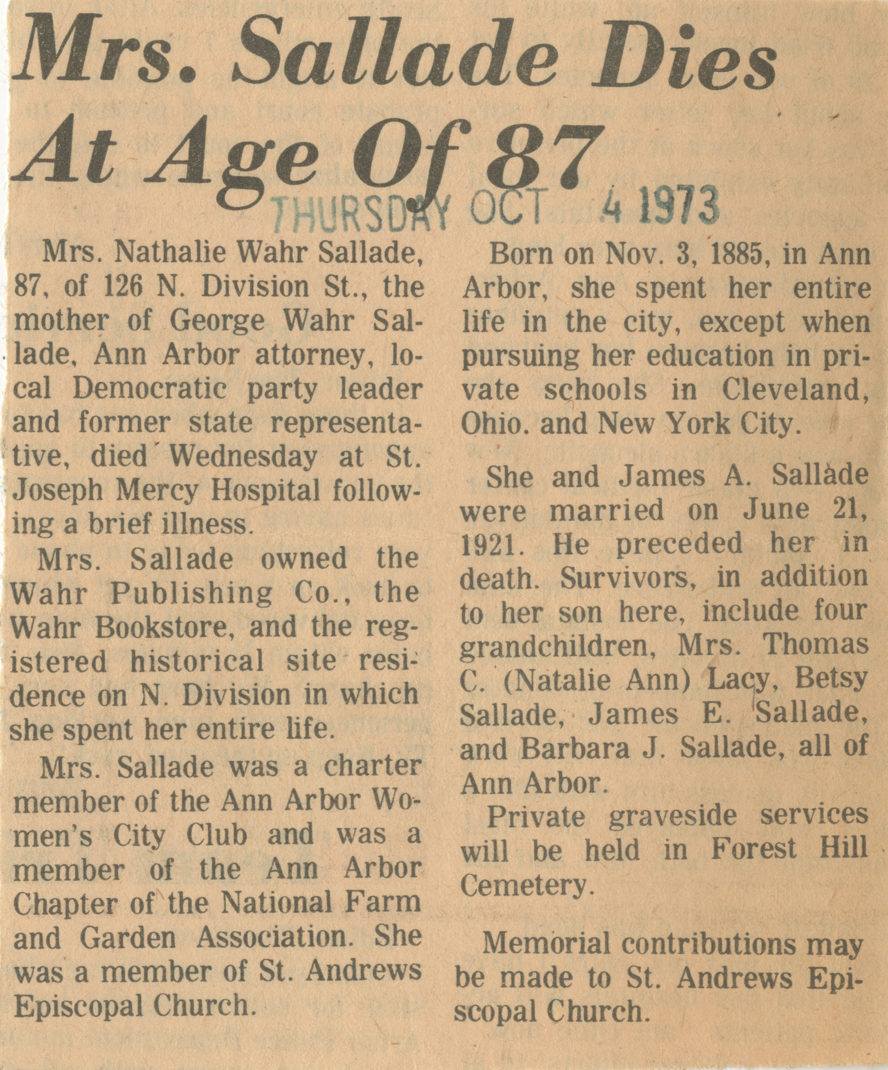 Mrs. Sallade Dies At Age Of 87 image