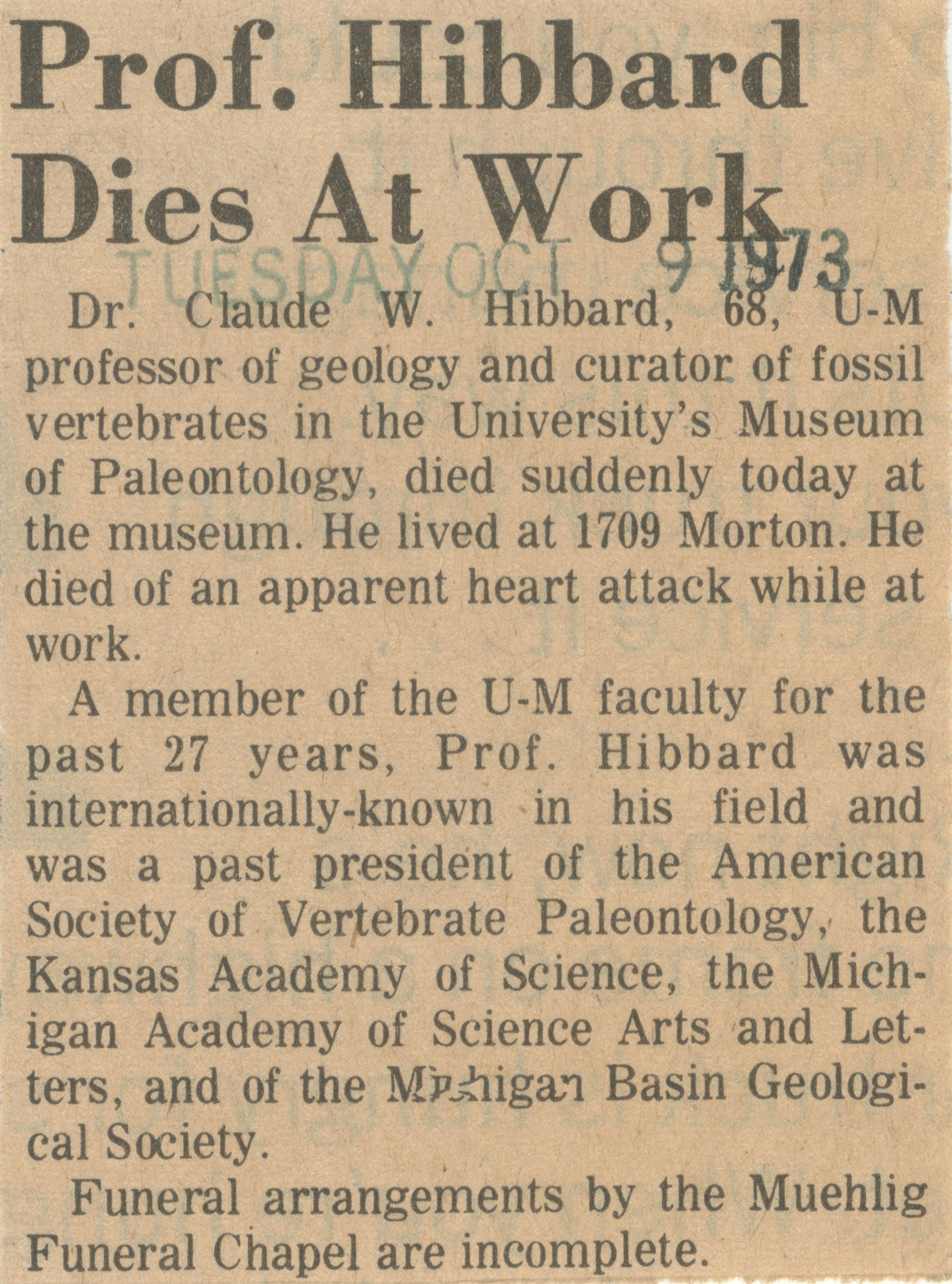 Prof. Hibbard Dies At Work image