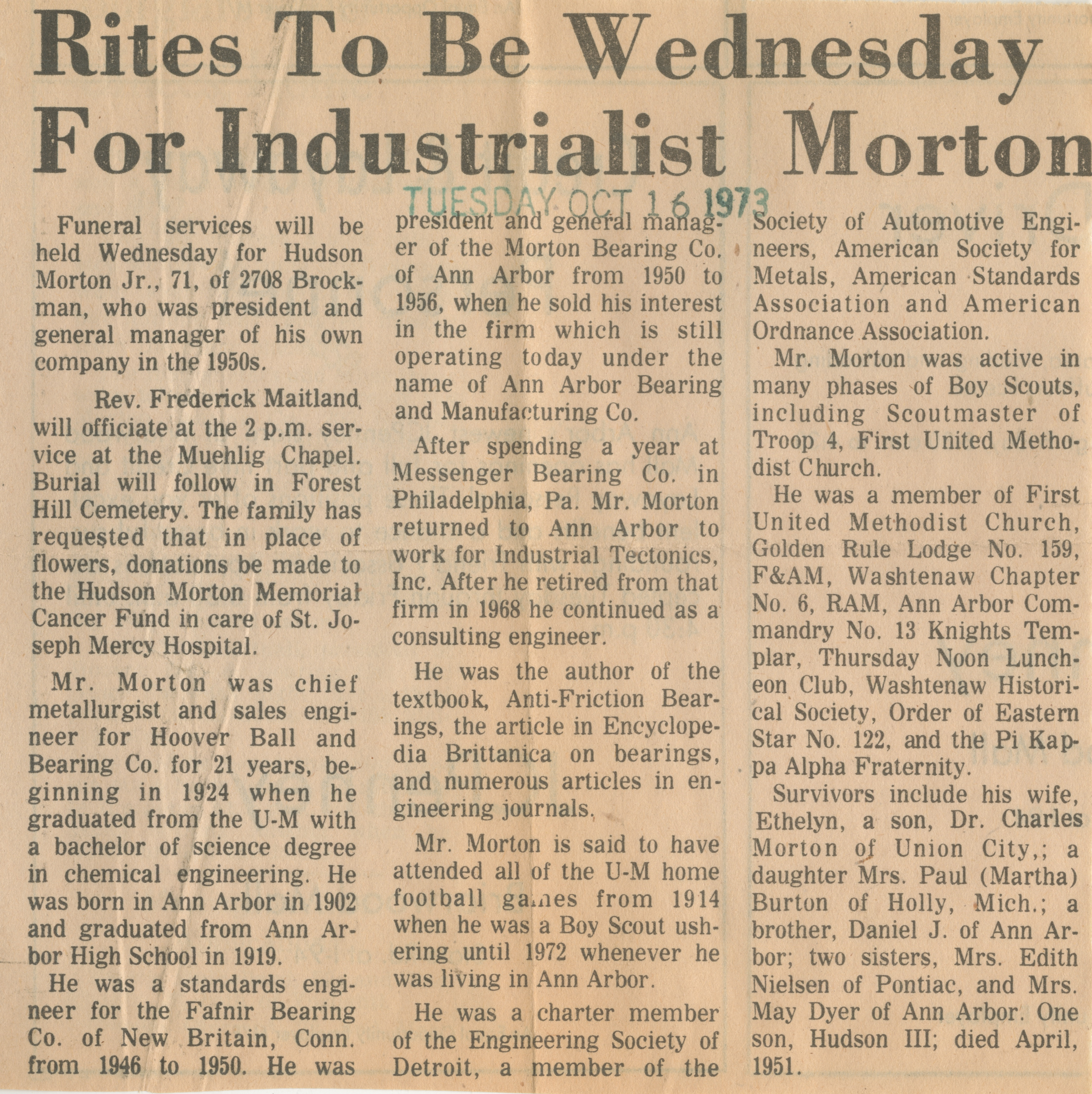 Rites To Be Wednesday For Industrialist Morton image
